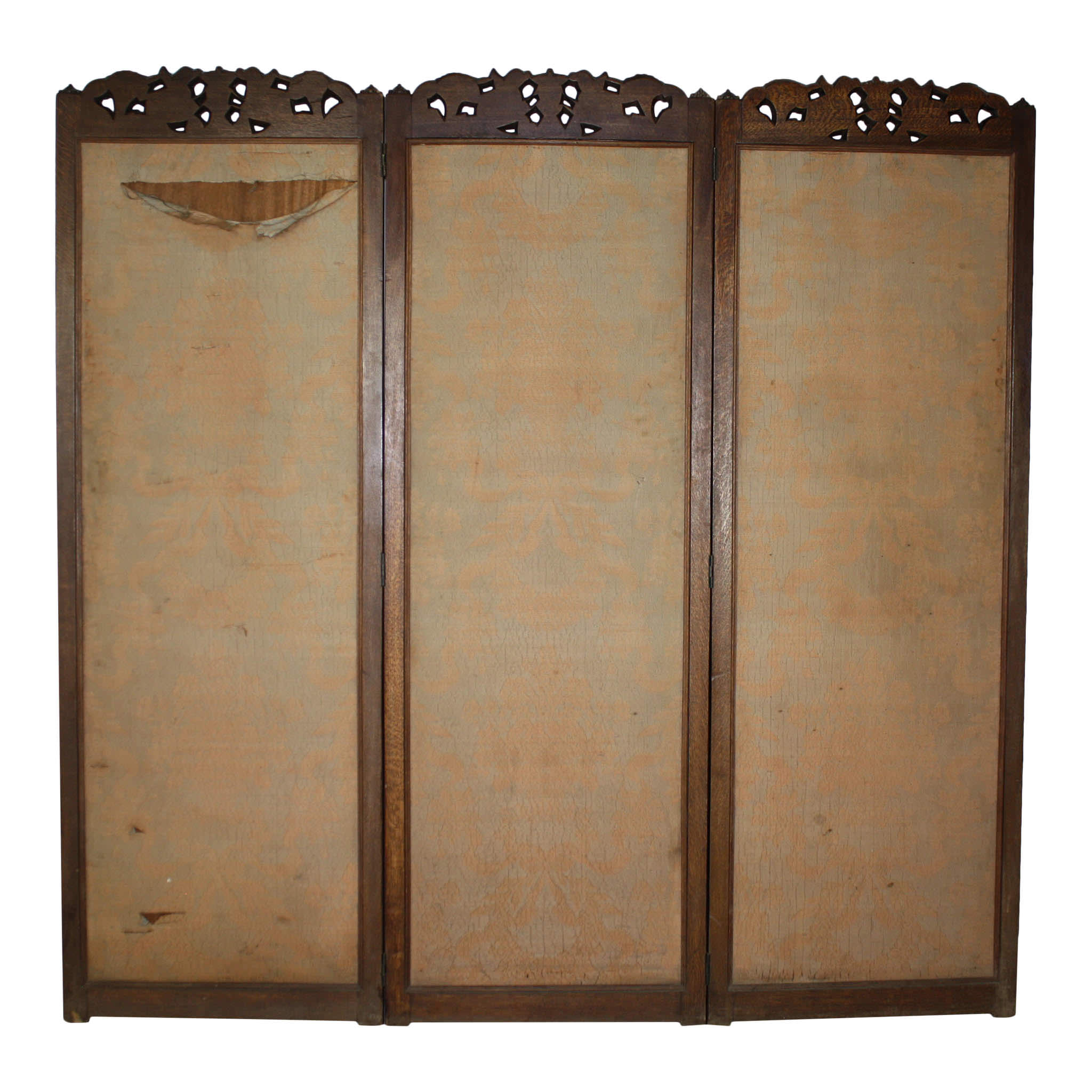 Carved Oak Three Panel Screen Room Divider