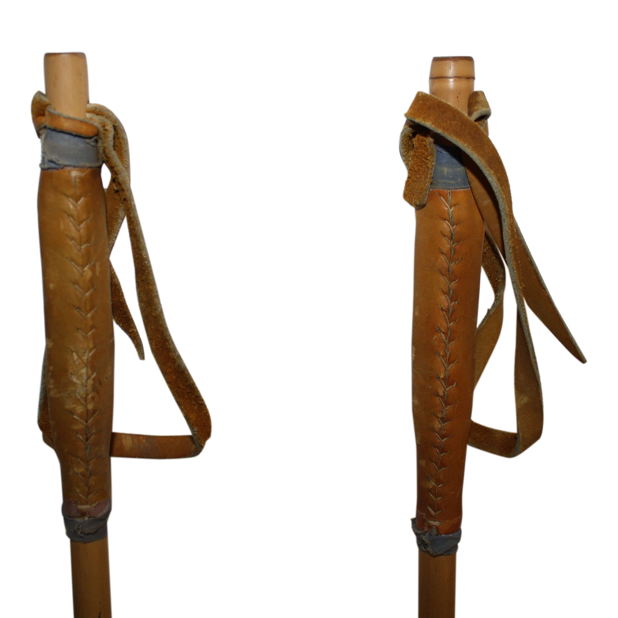 Bamboo Ski Poles with Leather Grips