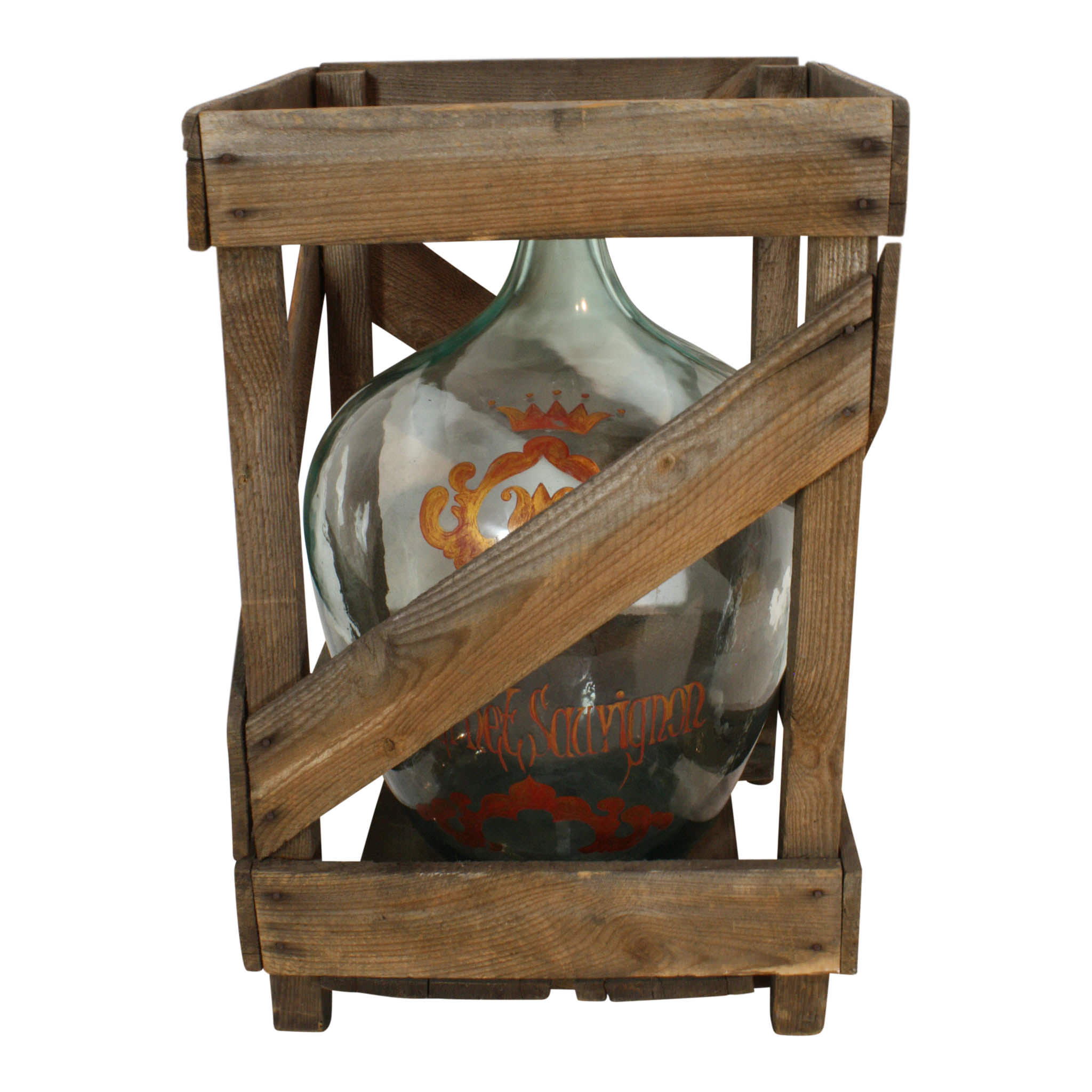Painted Cabernet Sauvignon Demijohn in Wood Crate