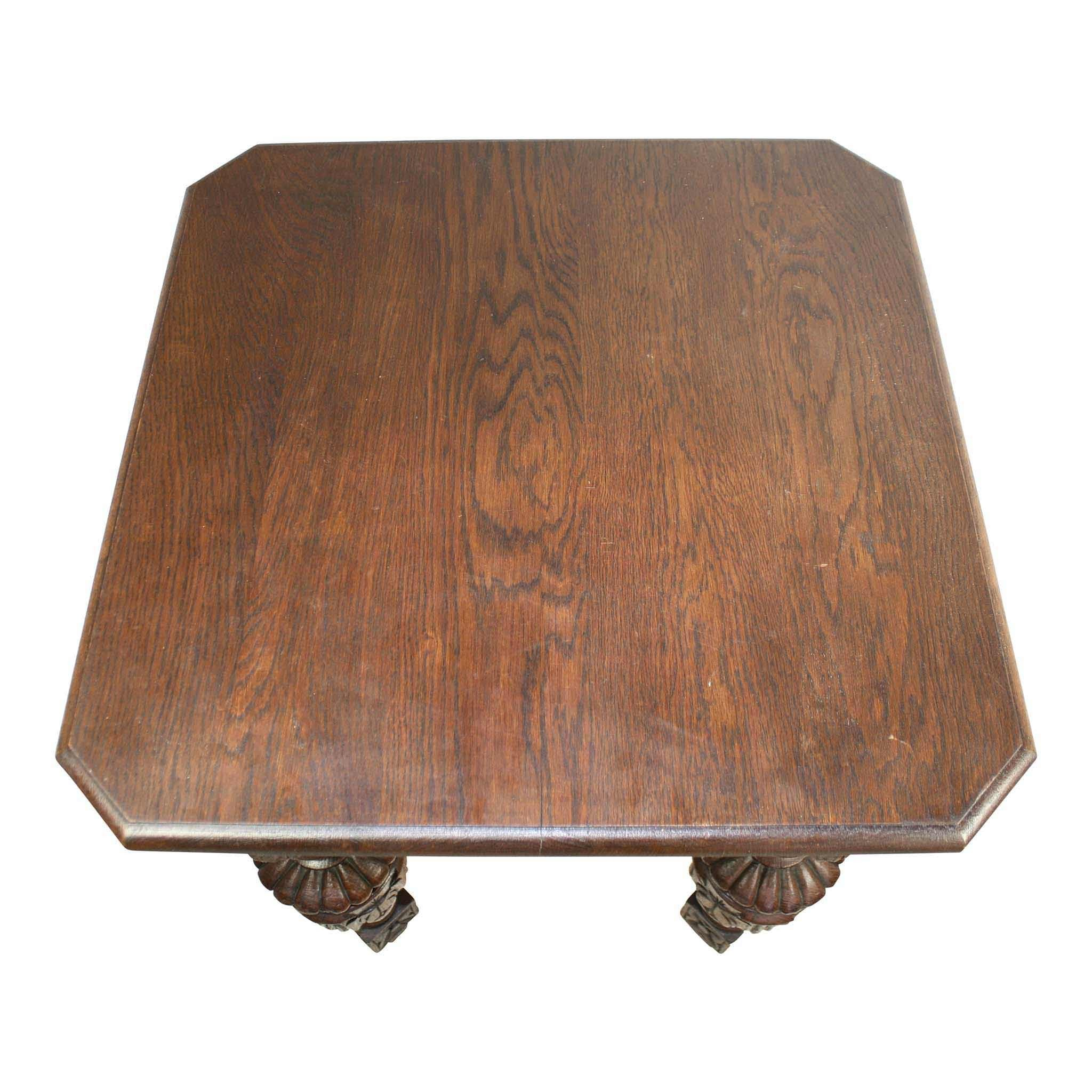 Square Oak Carved Table
