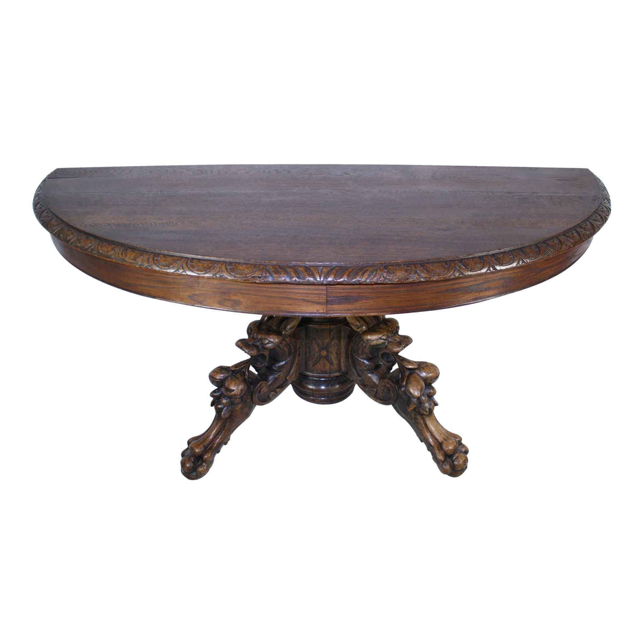 French Oak Crescent Table