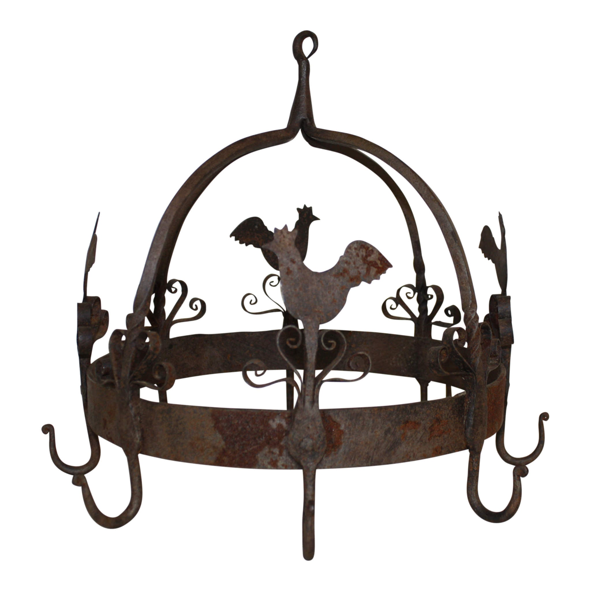 Hanging Iron Rack with Chickens