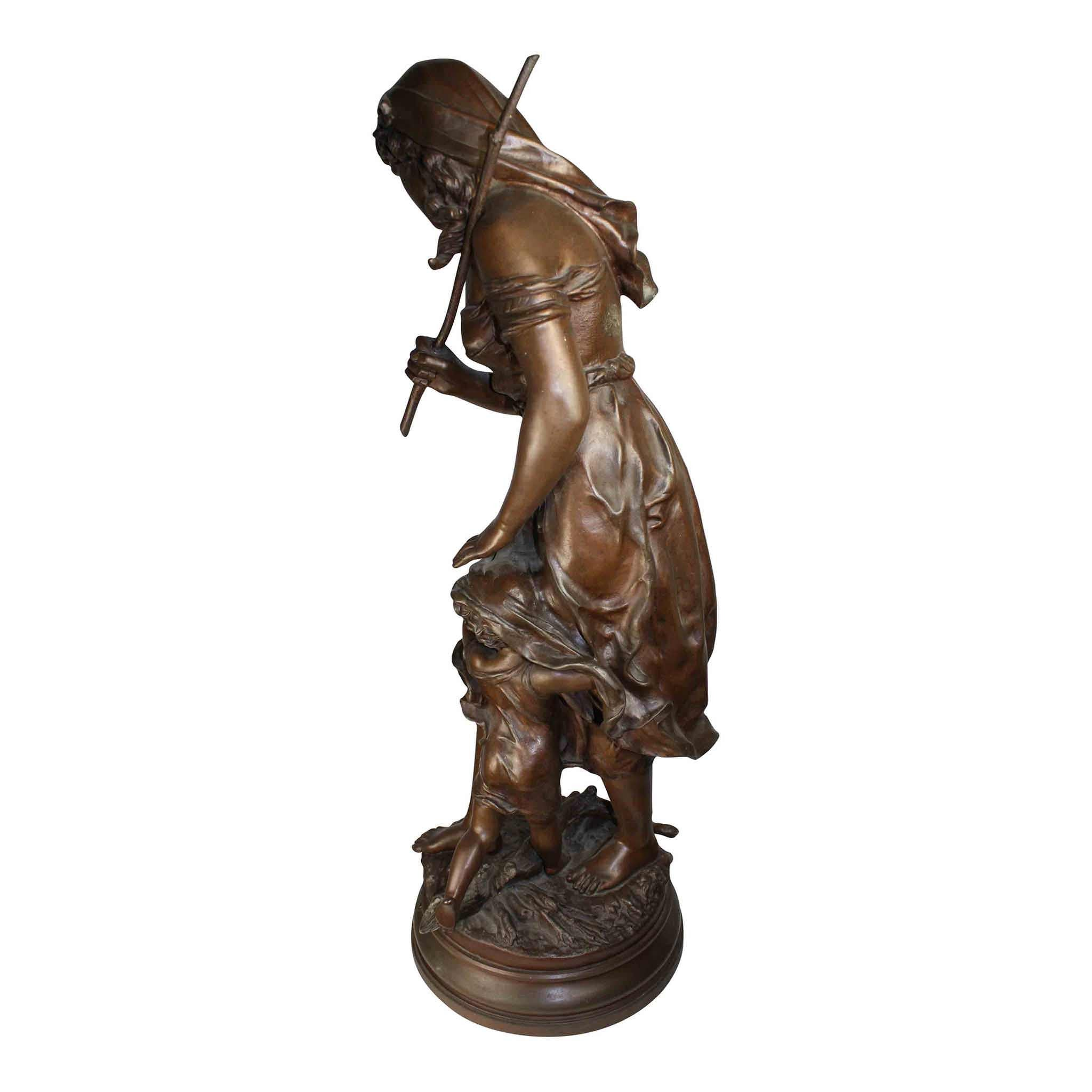 Bronze Statue of Woman and Child