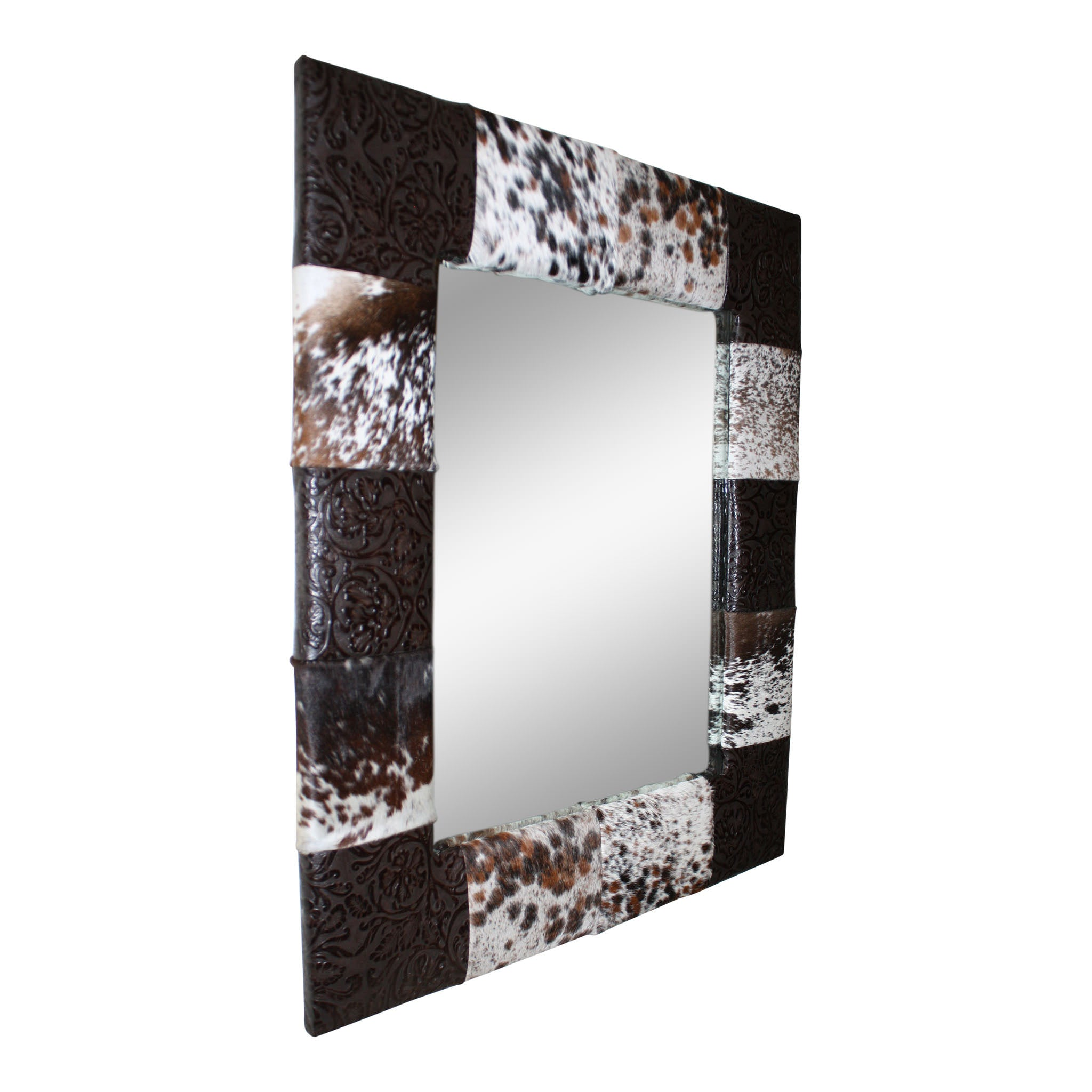 Cowhide and Leather Patchwork Mirror