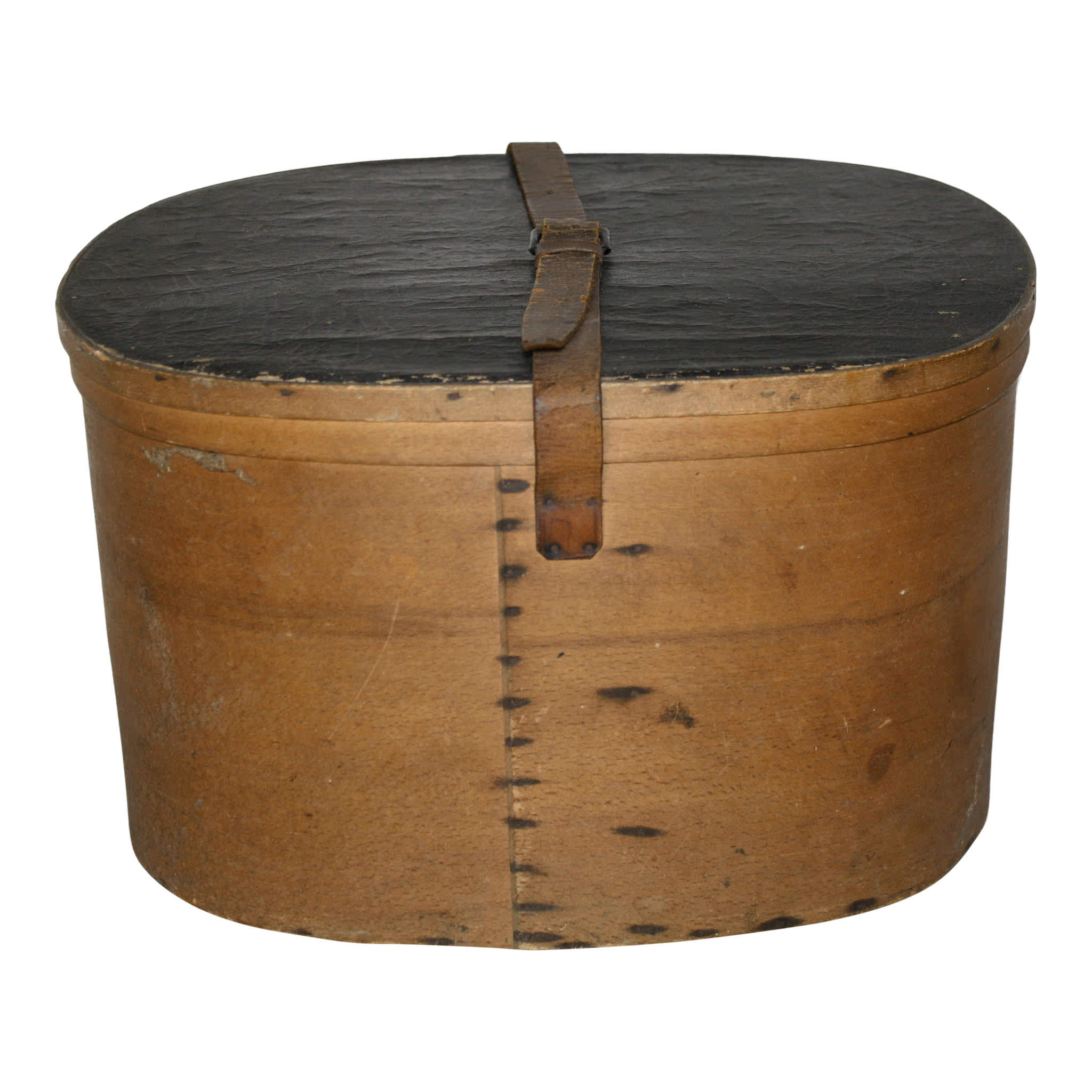 Oval Bentwood Hat Box with Leather Strap and Lid