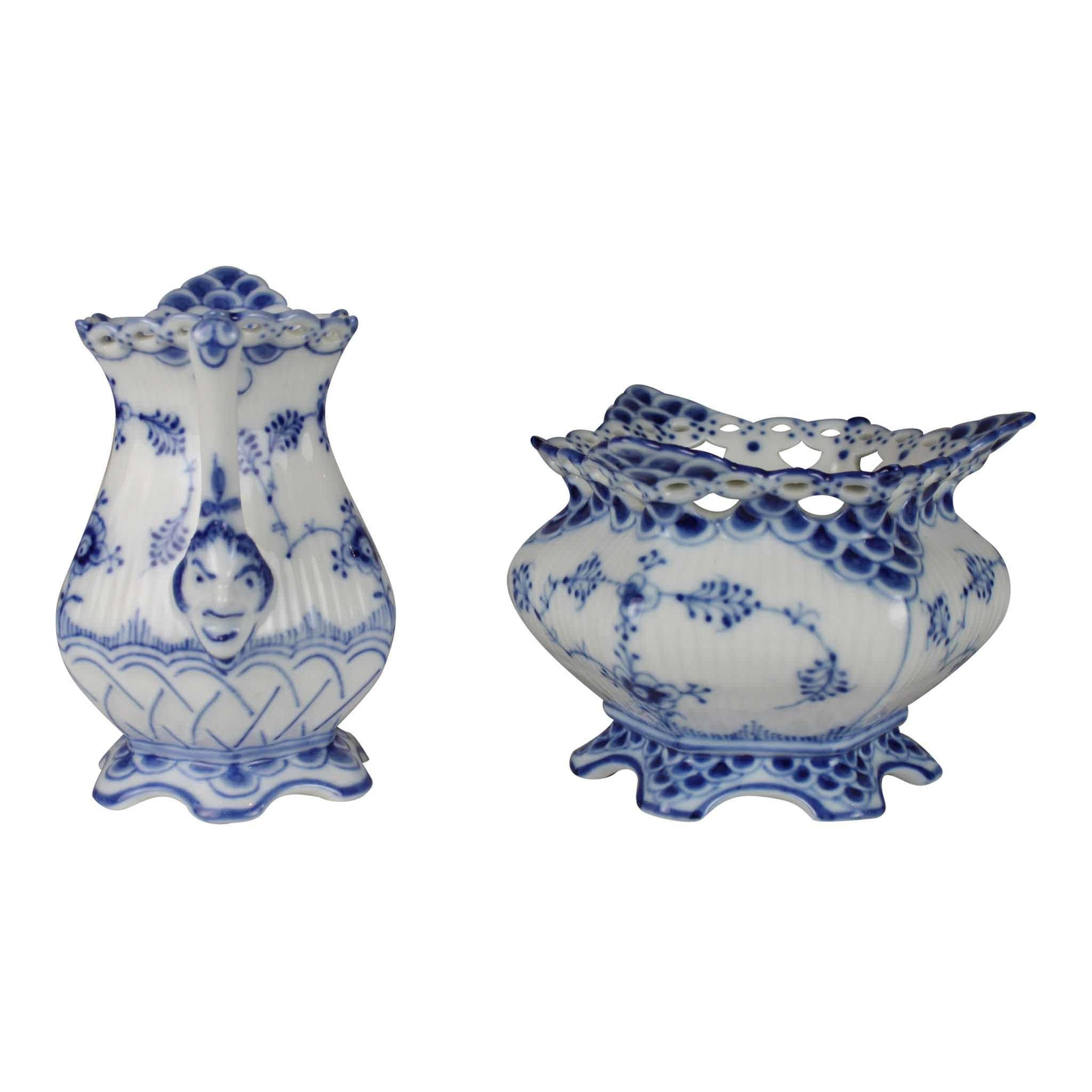 Royal Copenhagen Blue Fluted Full Lace Creamer and Sugar Bowl