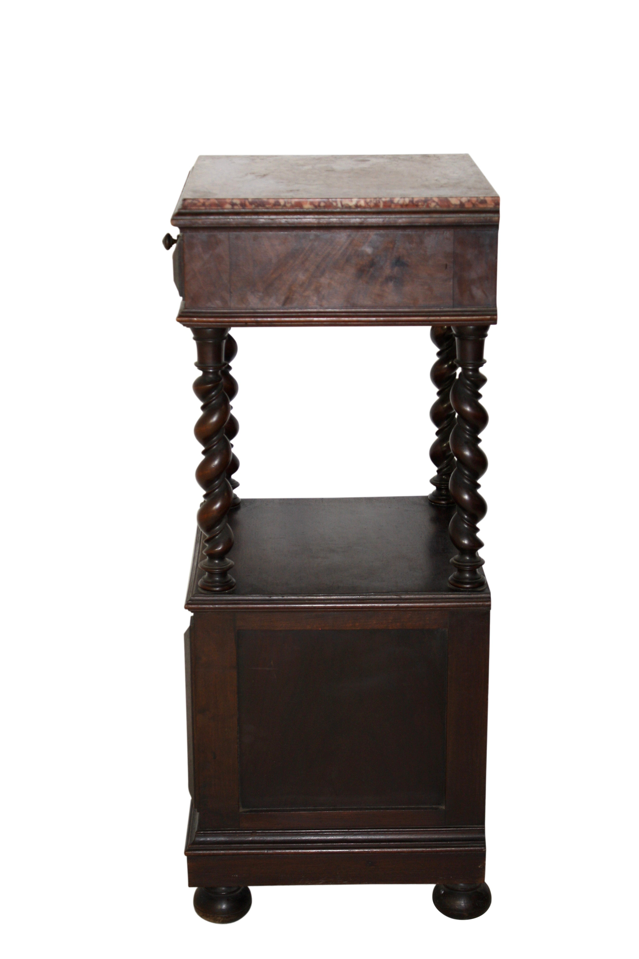 Two Tier Oak Nightstand with Marble Top