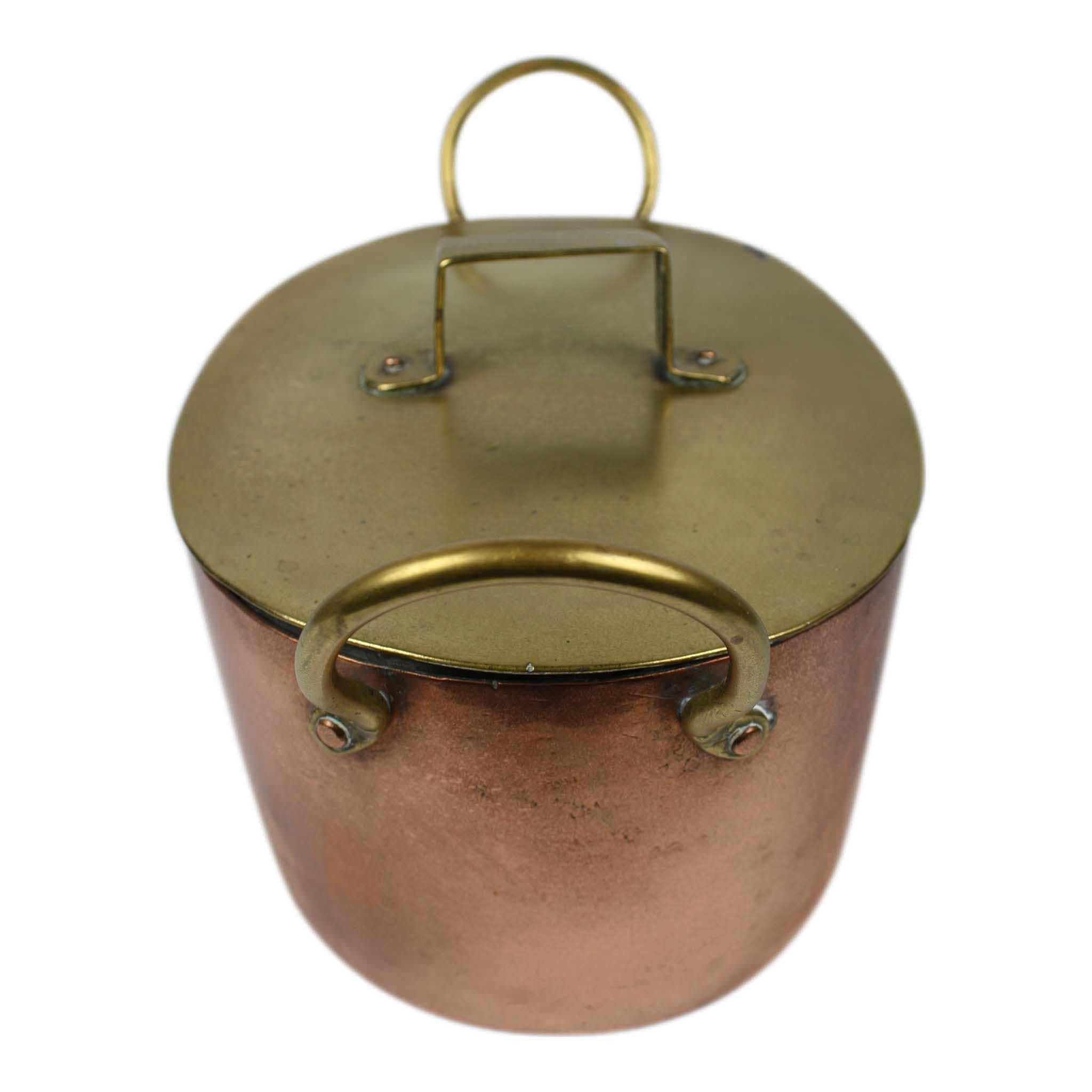 Copper Pot with Brass Lid and Handles
