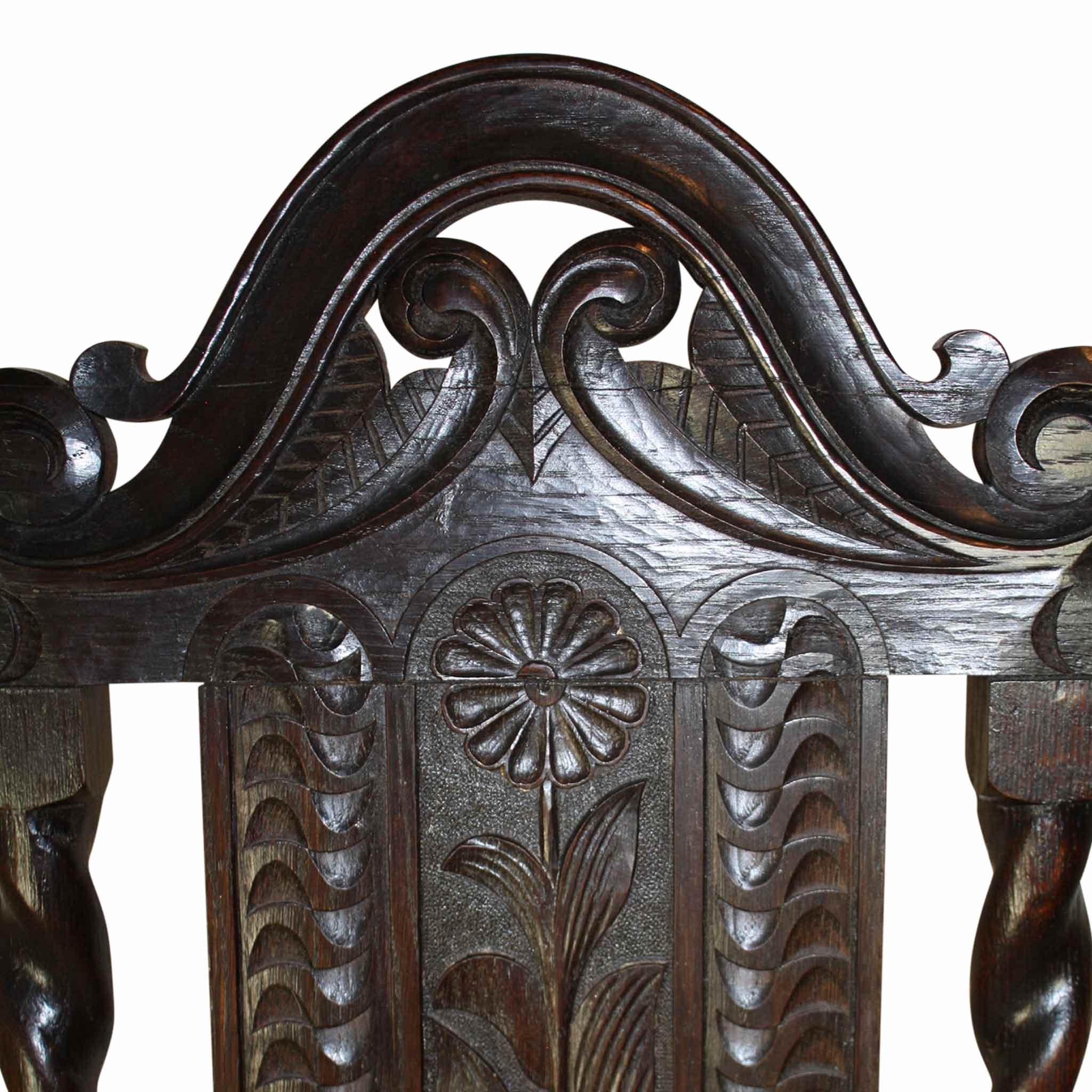 English High Back Carved Chair