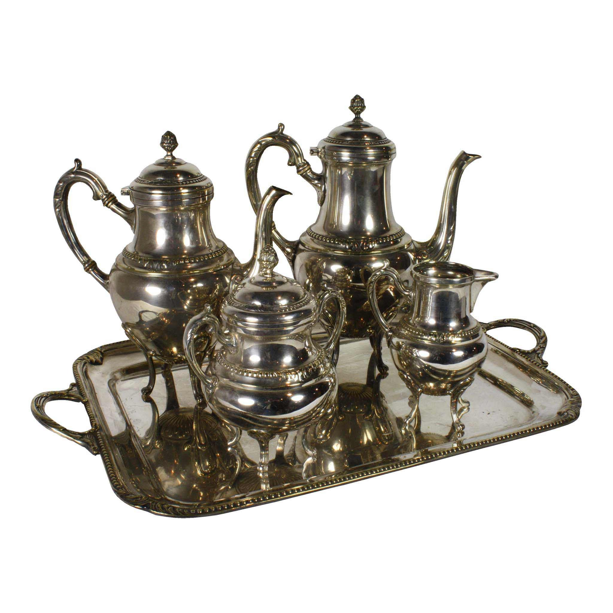 Silver Plated Coffee and Tea Set/5 Pieces (1stdibs)