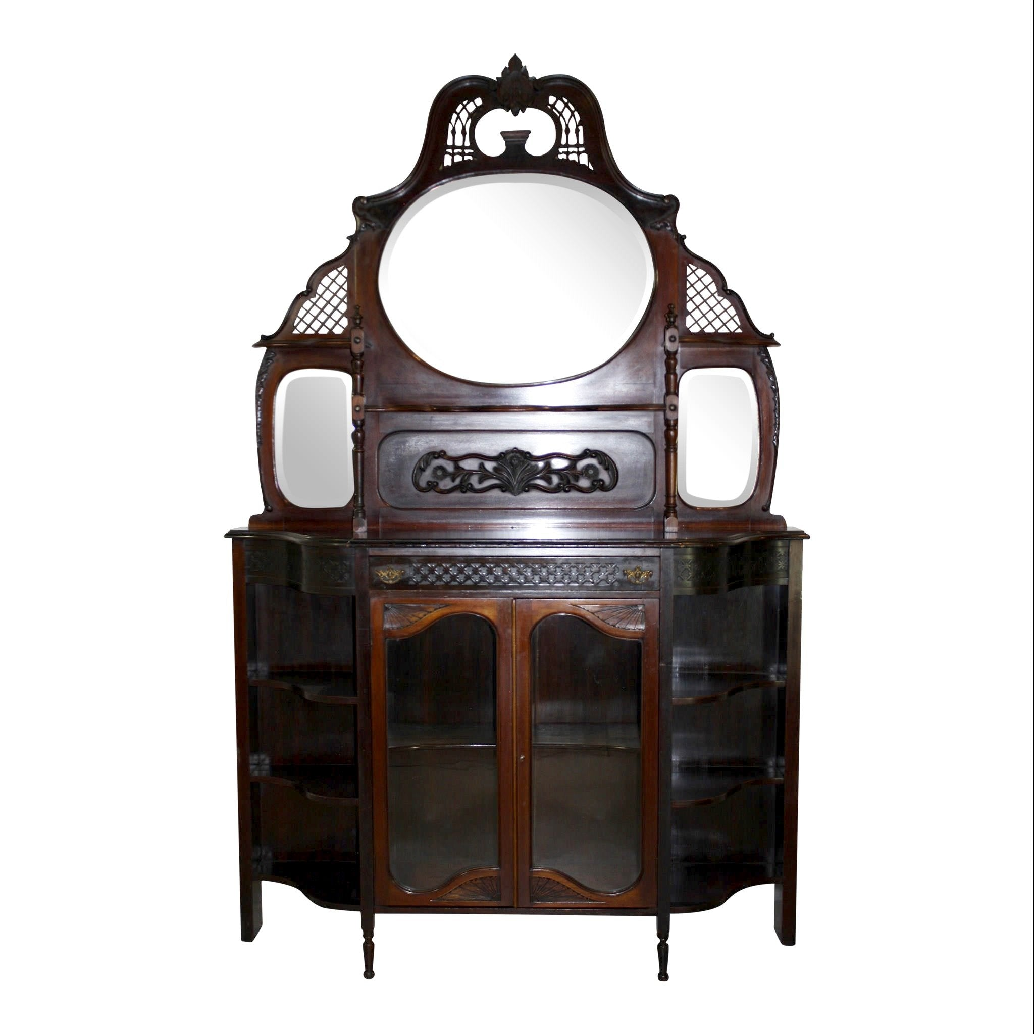 English Mahogany Cabinet with Glass Doors
