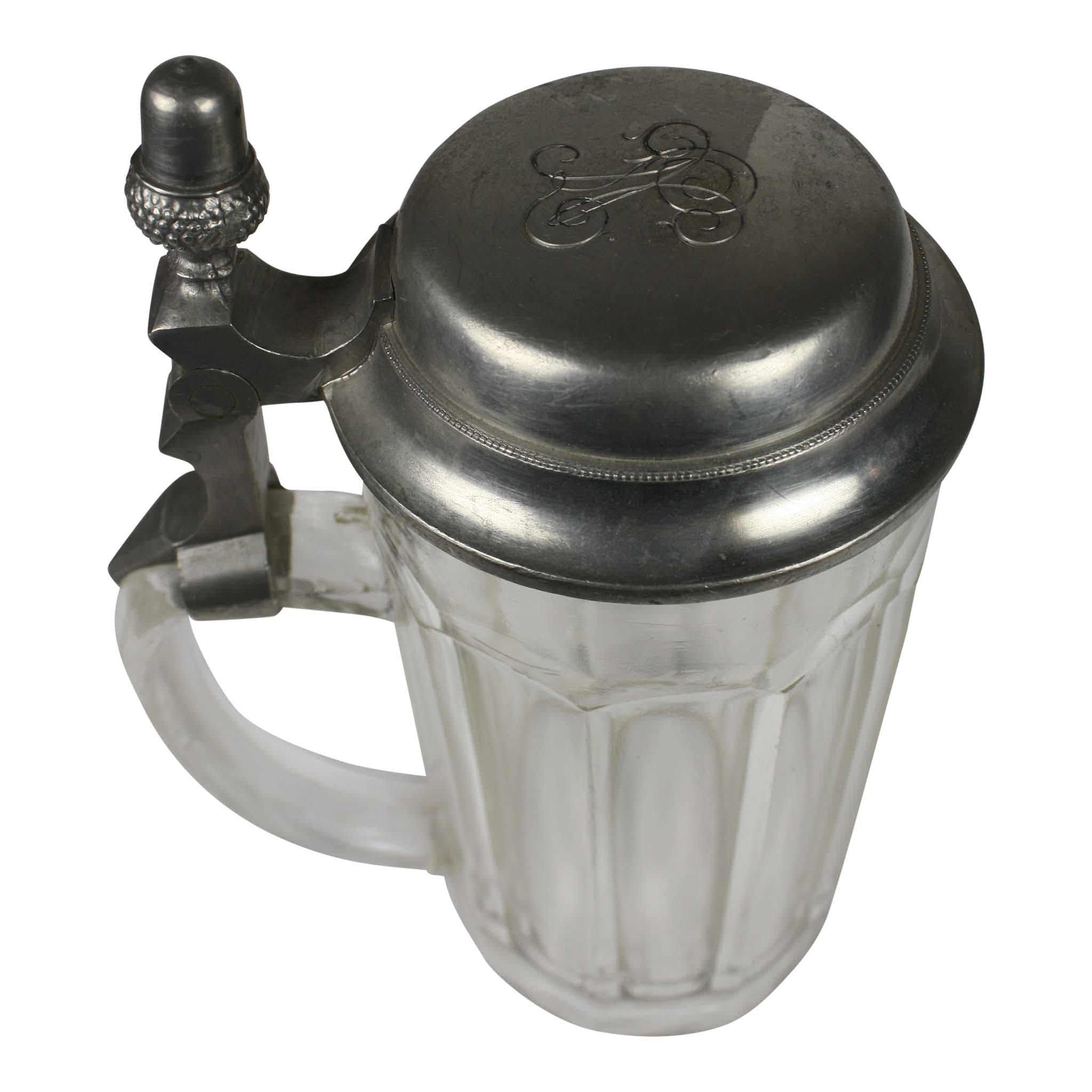 Pewter and Glass Beer Stein Set/10