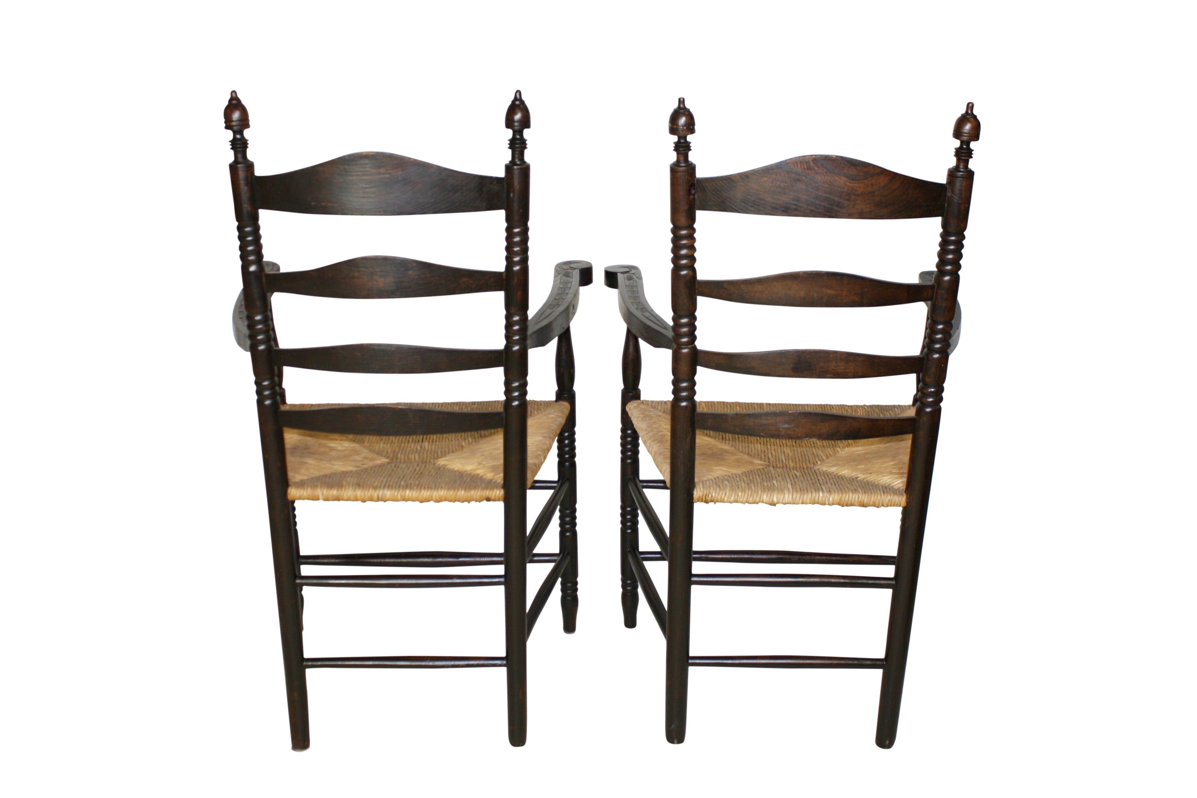 Pair of Ladder Back Armchairs with Rush Seats
