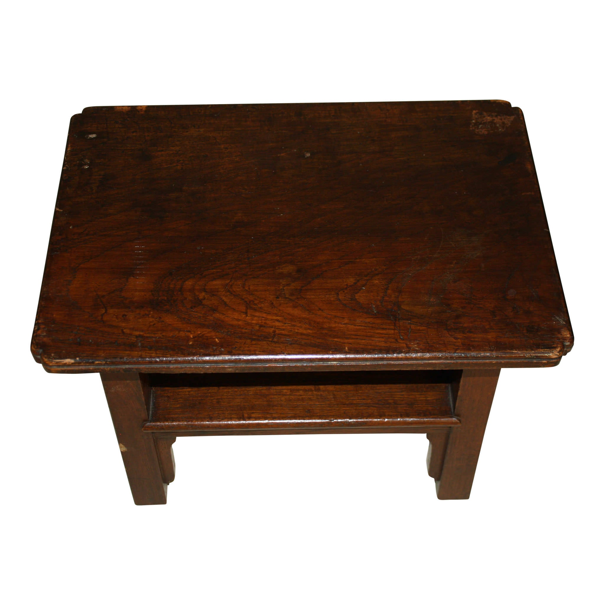 Rectangular Wood Stool with Lower Shelf