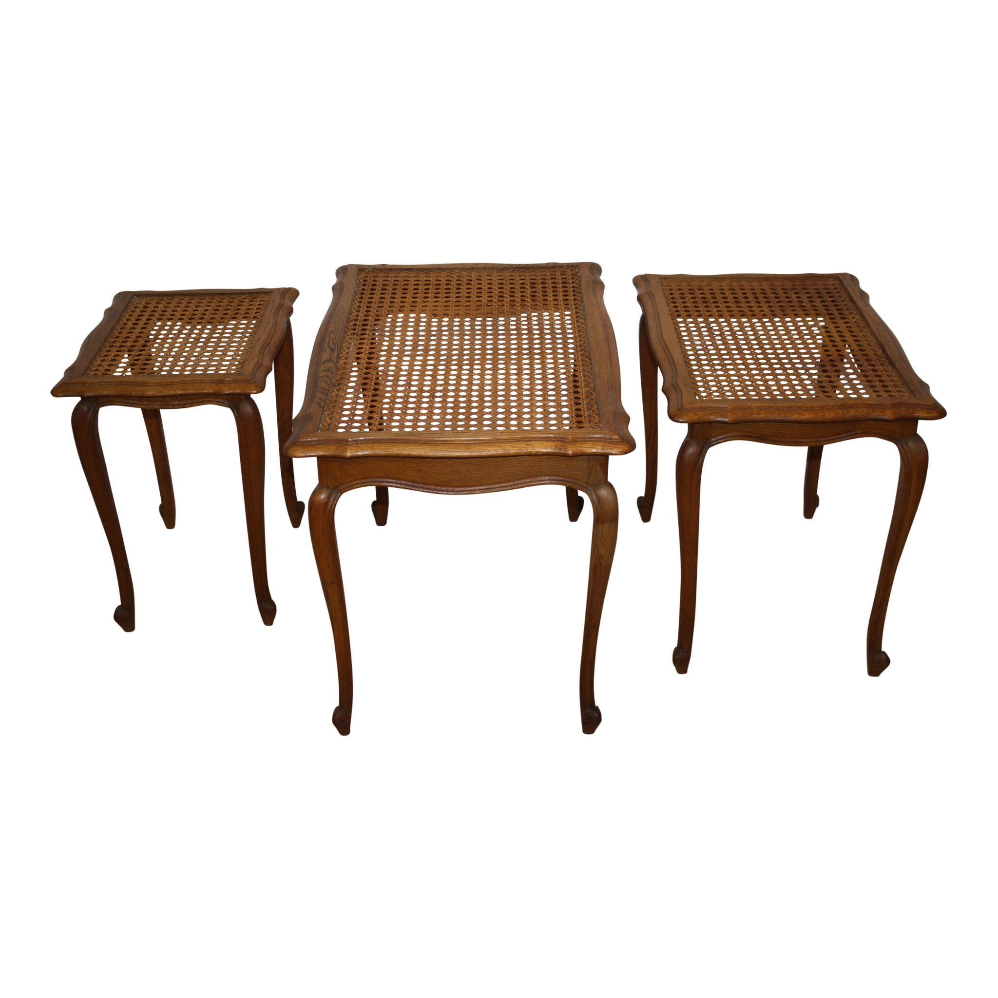 French Oak Nesting Tables with Cane and Glass Tops, Set of Three