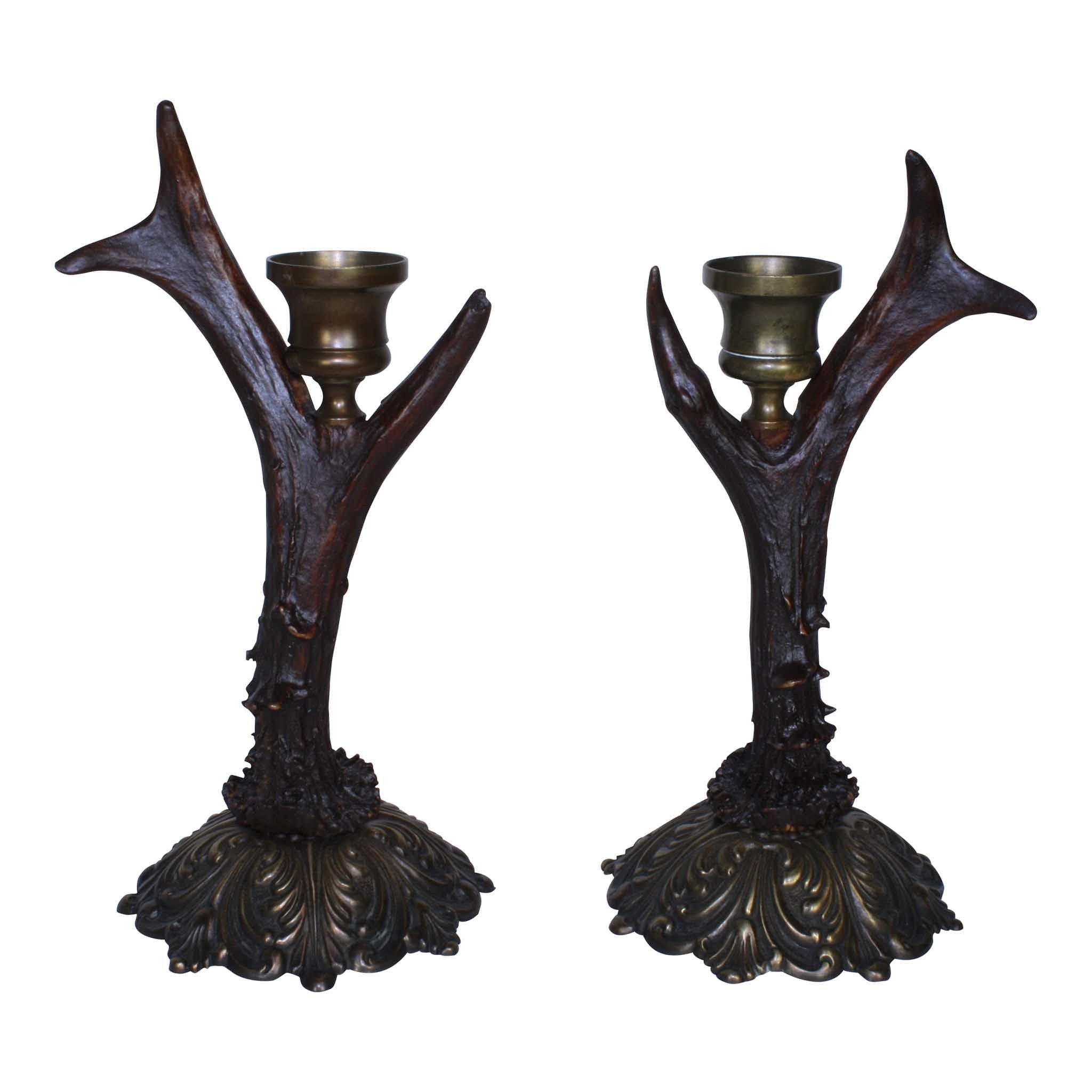 Roe Deer Candleholders with Bronze Base Set/2