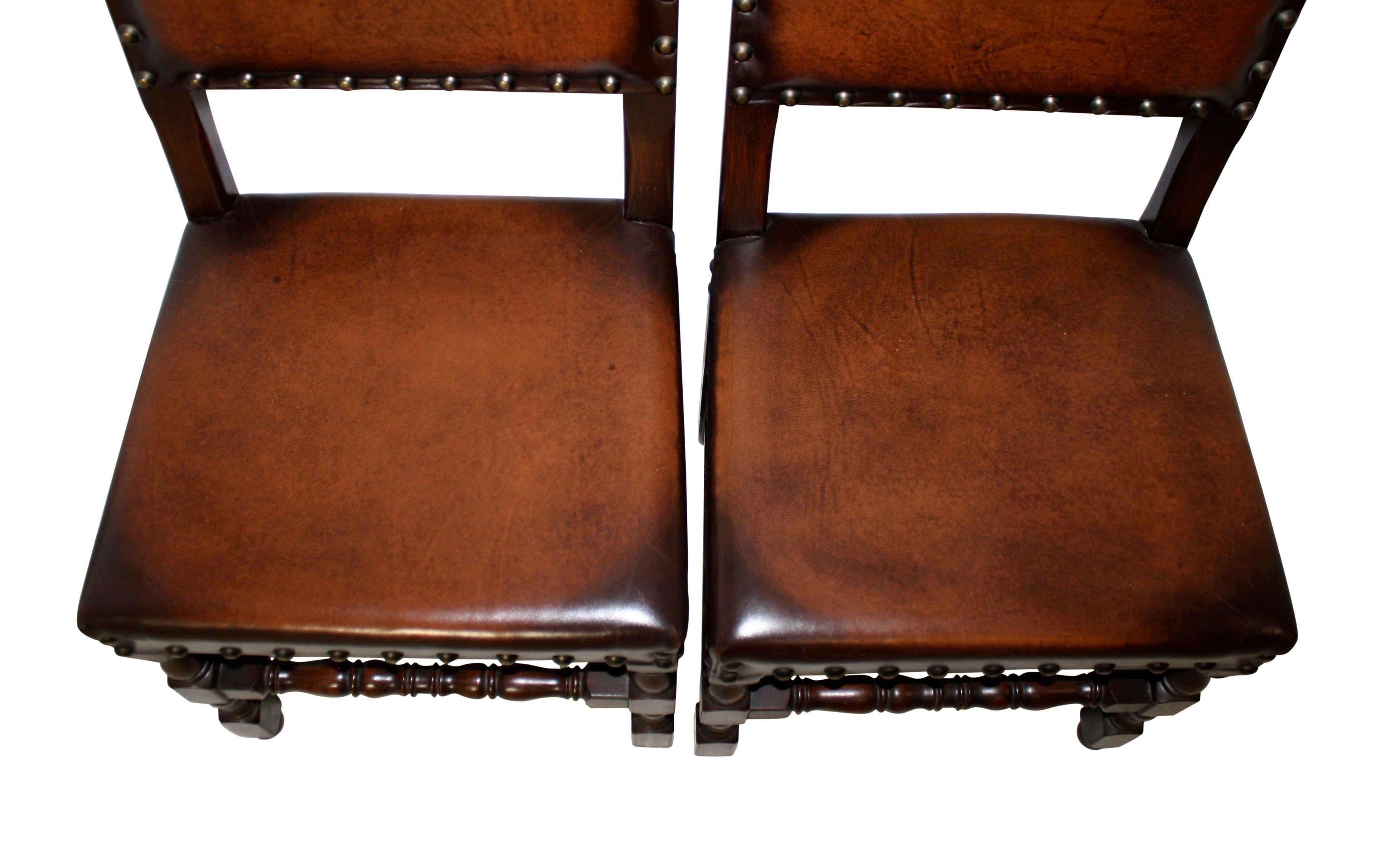 Leather Chairs, Set of Four