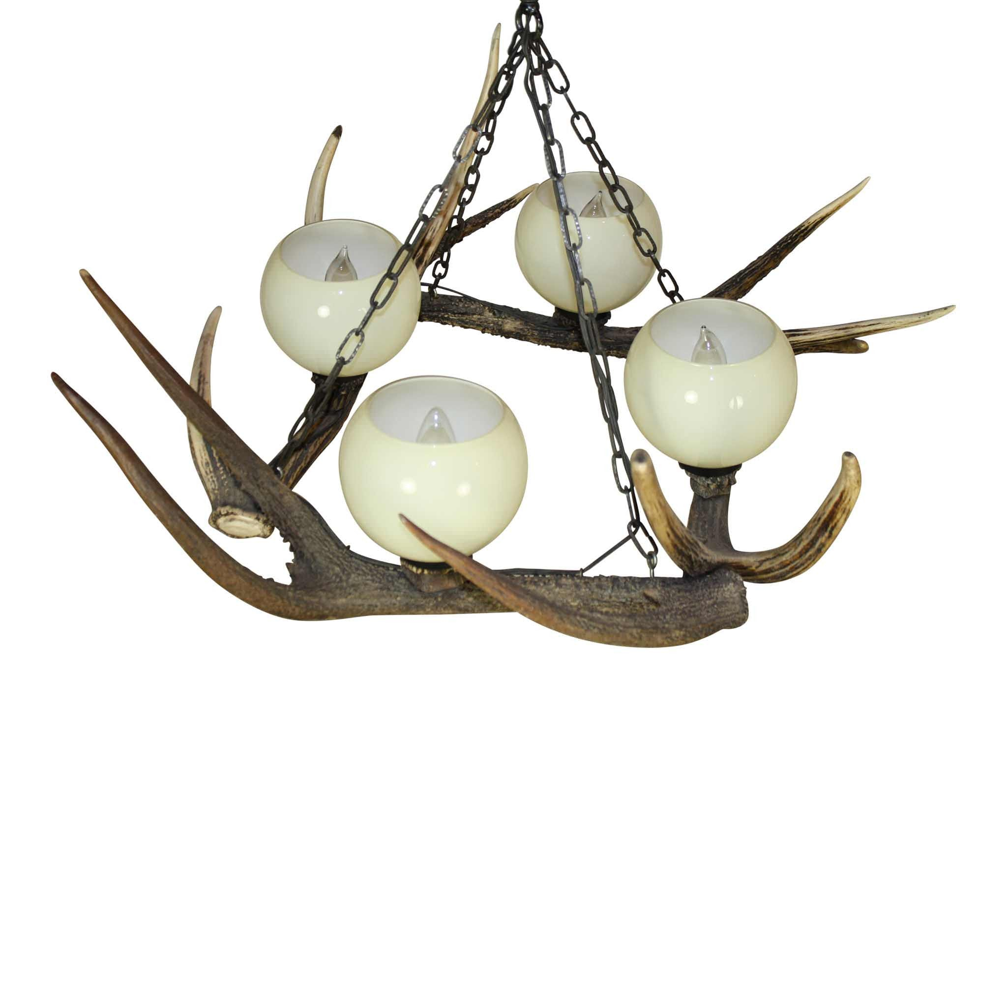 Red Stag Antler Chandelier with Glass Globes