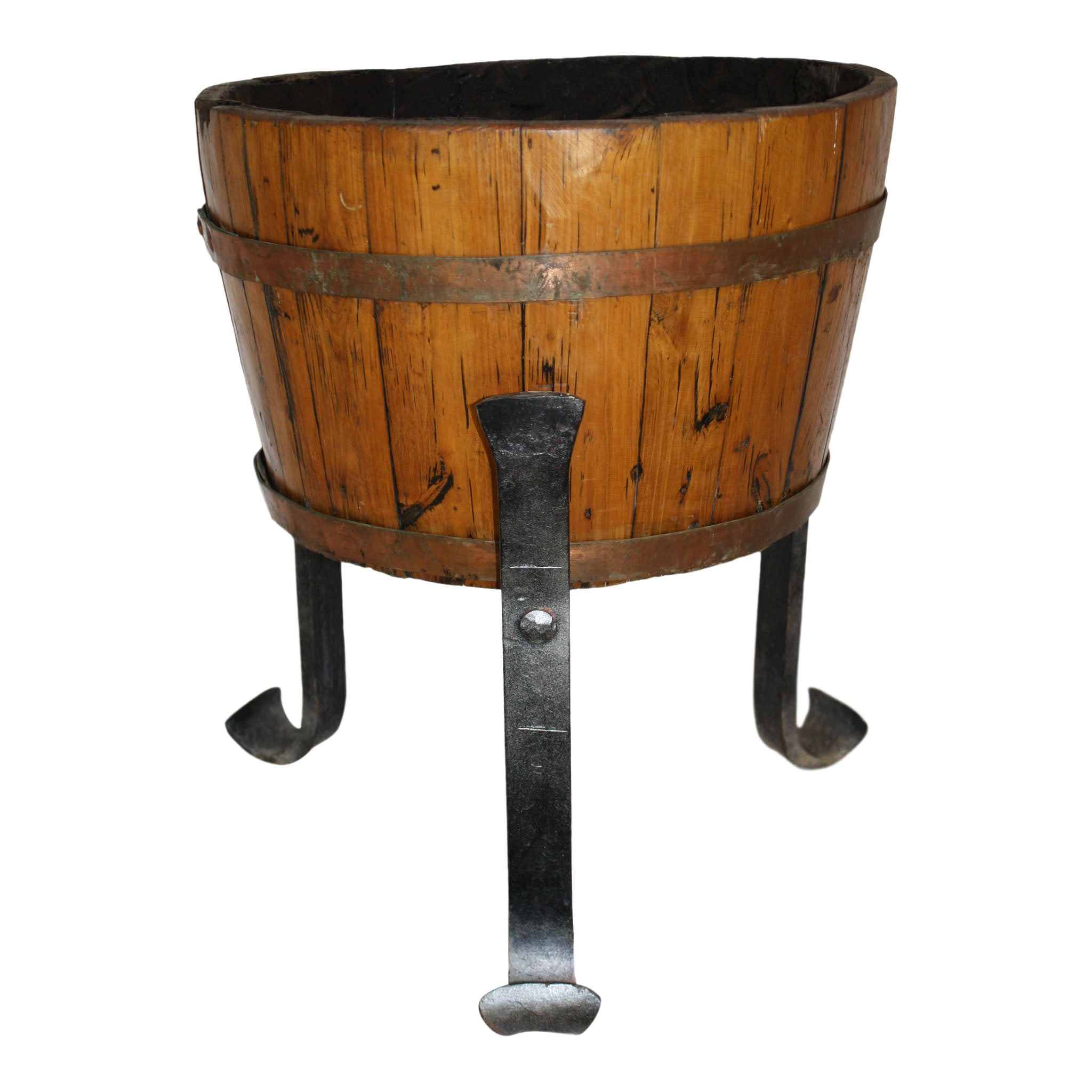 Wine Barrel Planter on Iron Stand