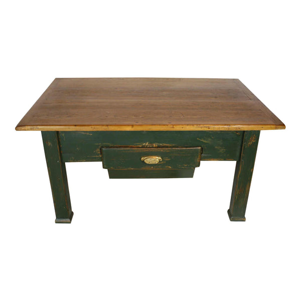 Coffee Table with Wood Top and Green Base