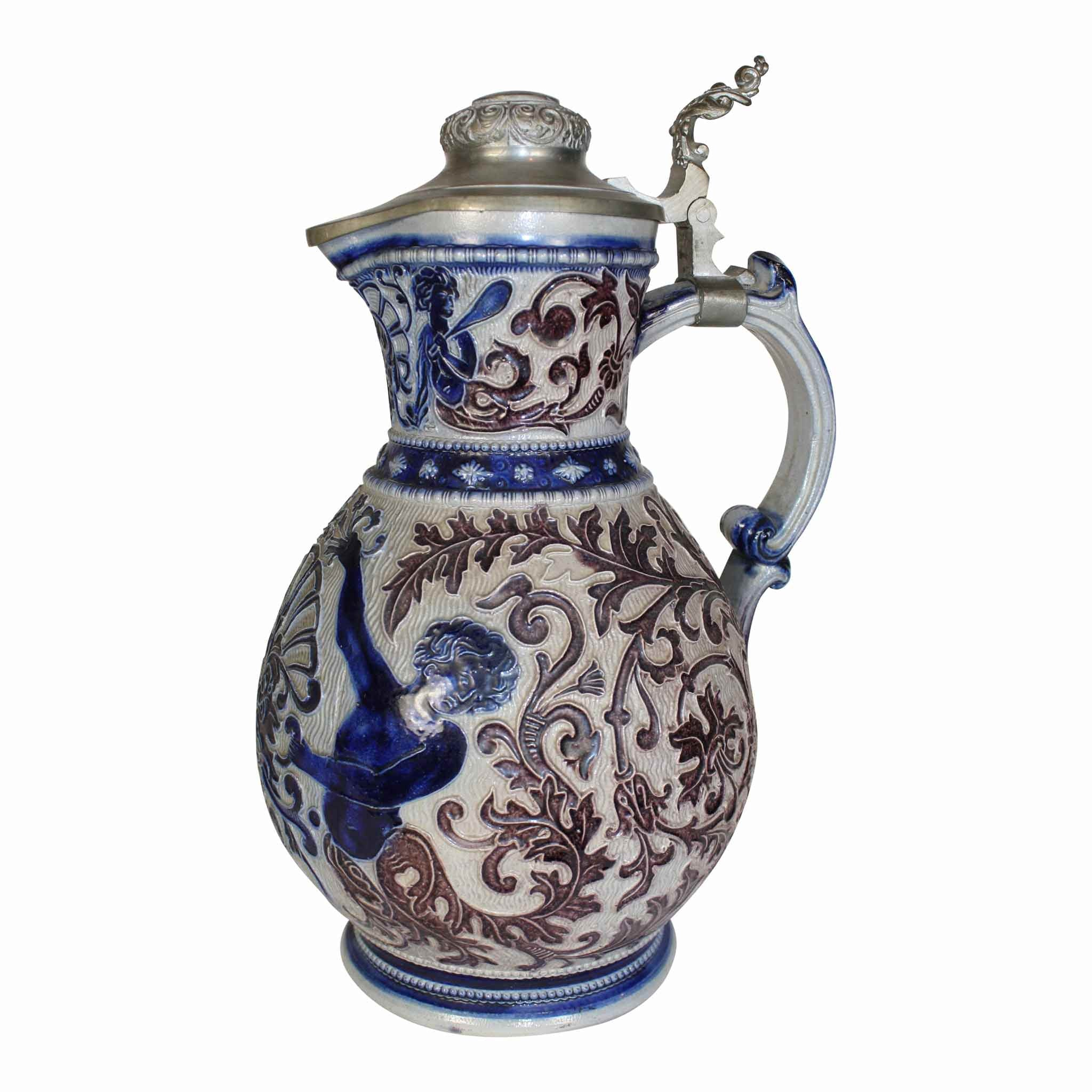 Salt Glazed Ceramic Pitcher