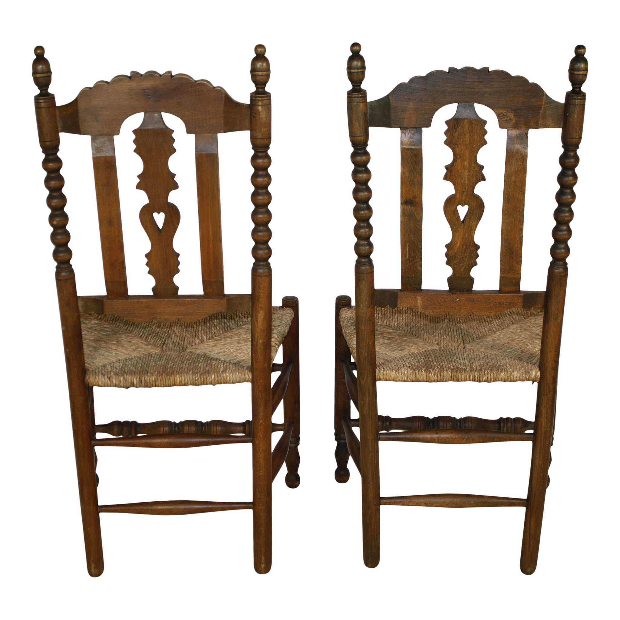 Carved Chairs with Rush Seats Set/4