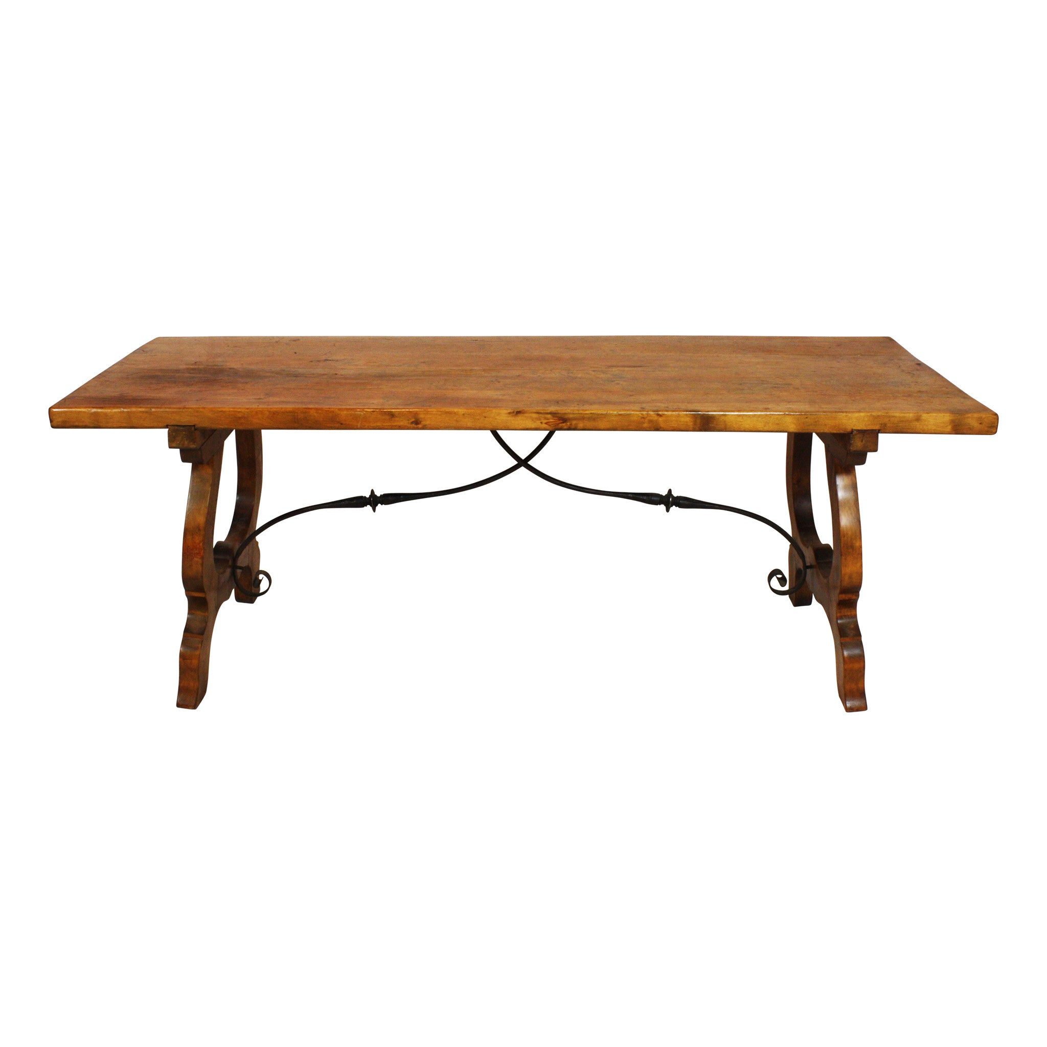 ski-country-antiques - Spanish Oak Table with Cast Iron Scroll Work