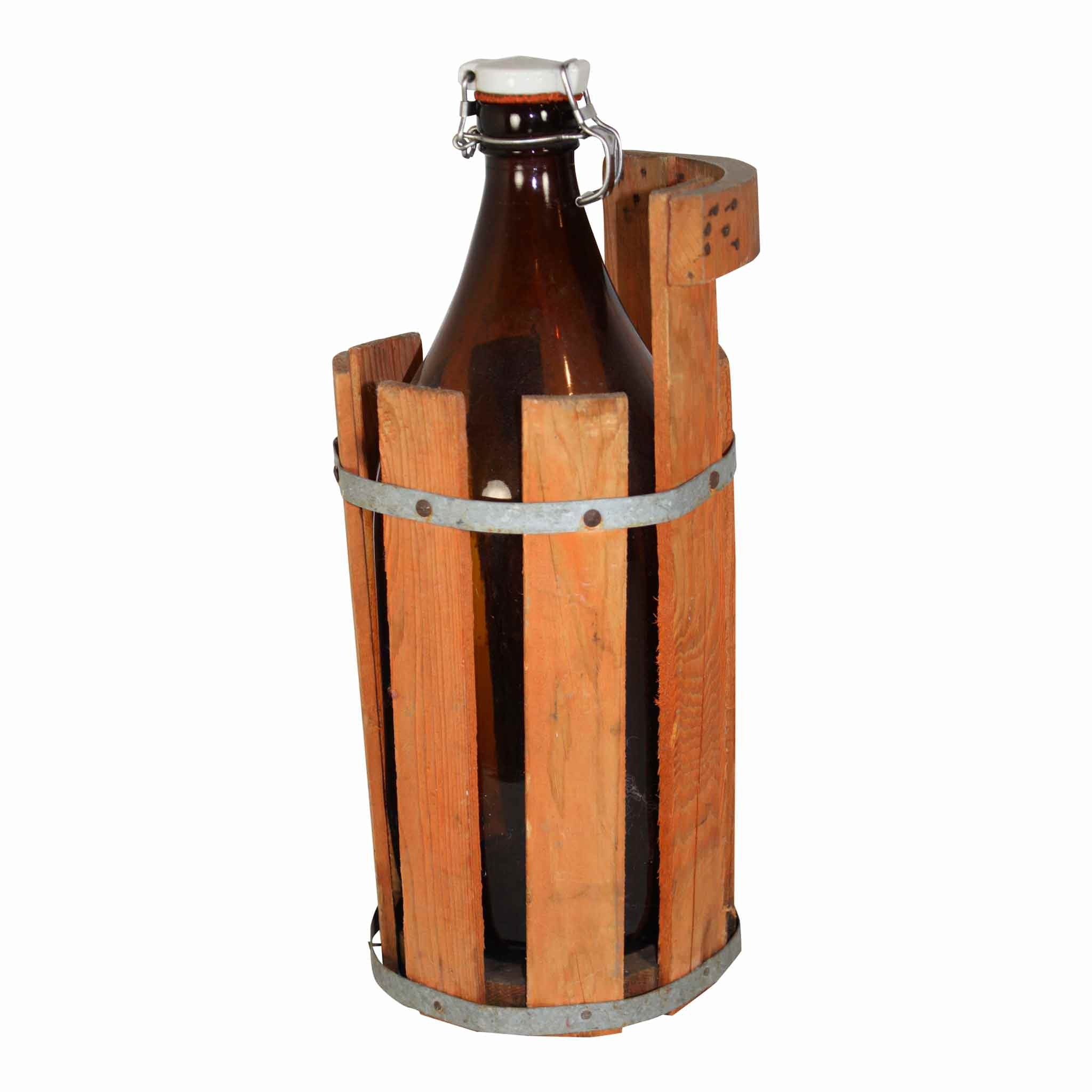 Swedish Beer Bottle in Wood Bucket