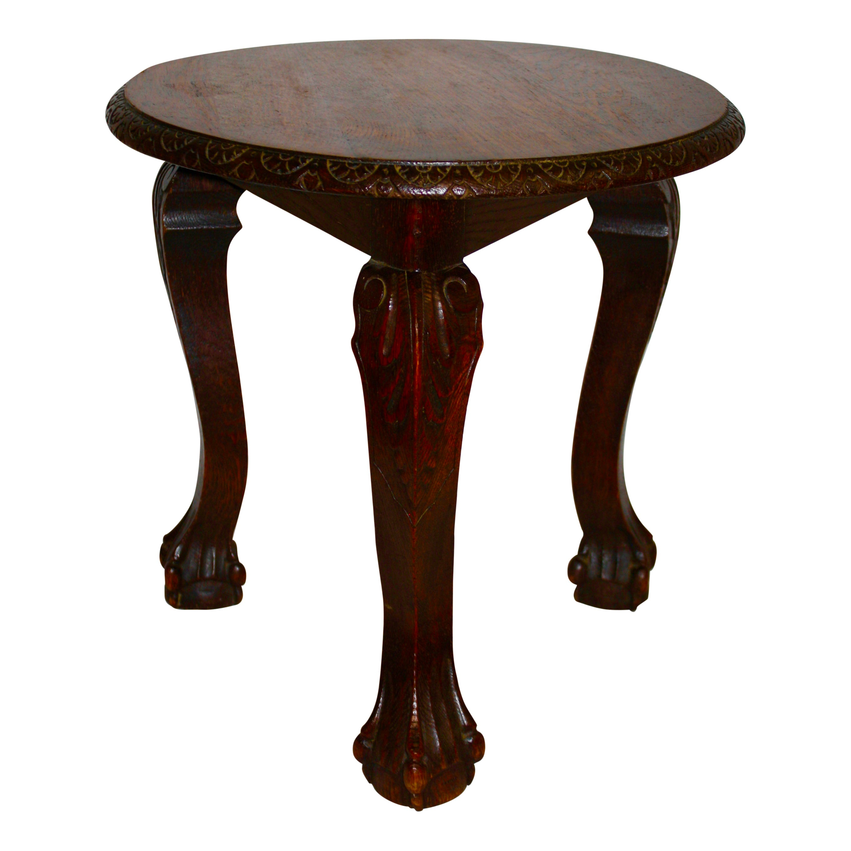 Round Oak Side Table