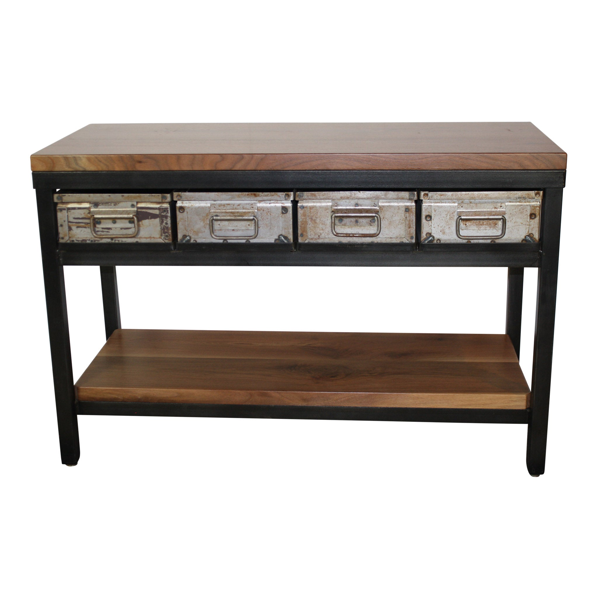 Industrial Console Table with Steel Bins