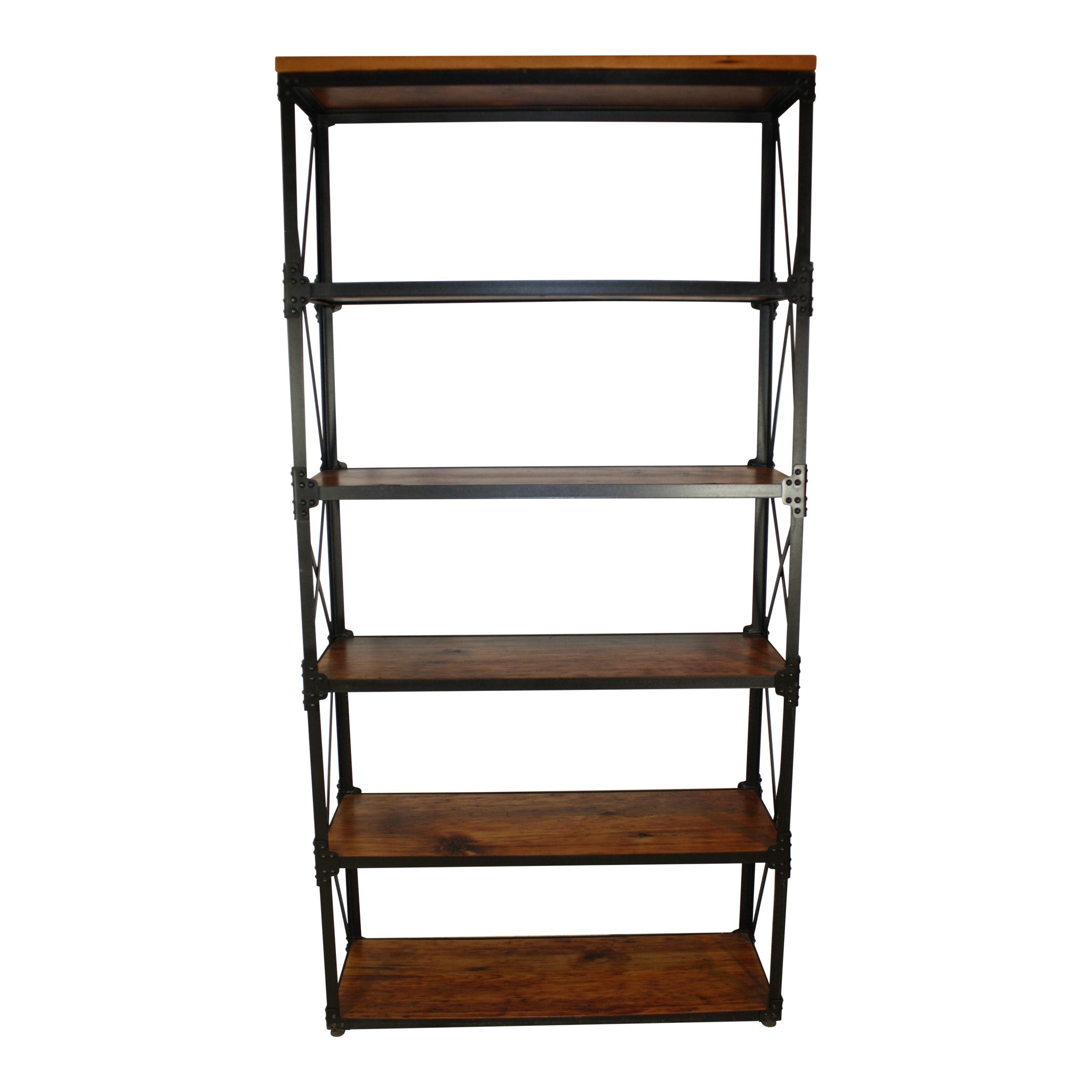 Industrial Steel Bookcase with Six Shelves