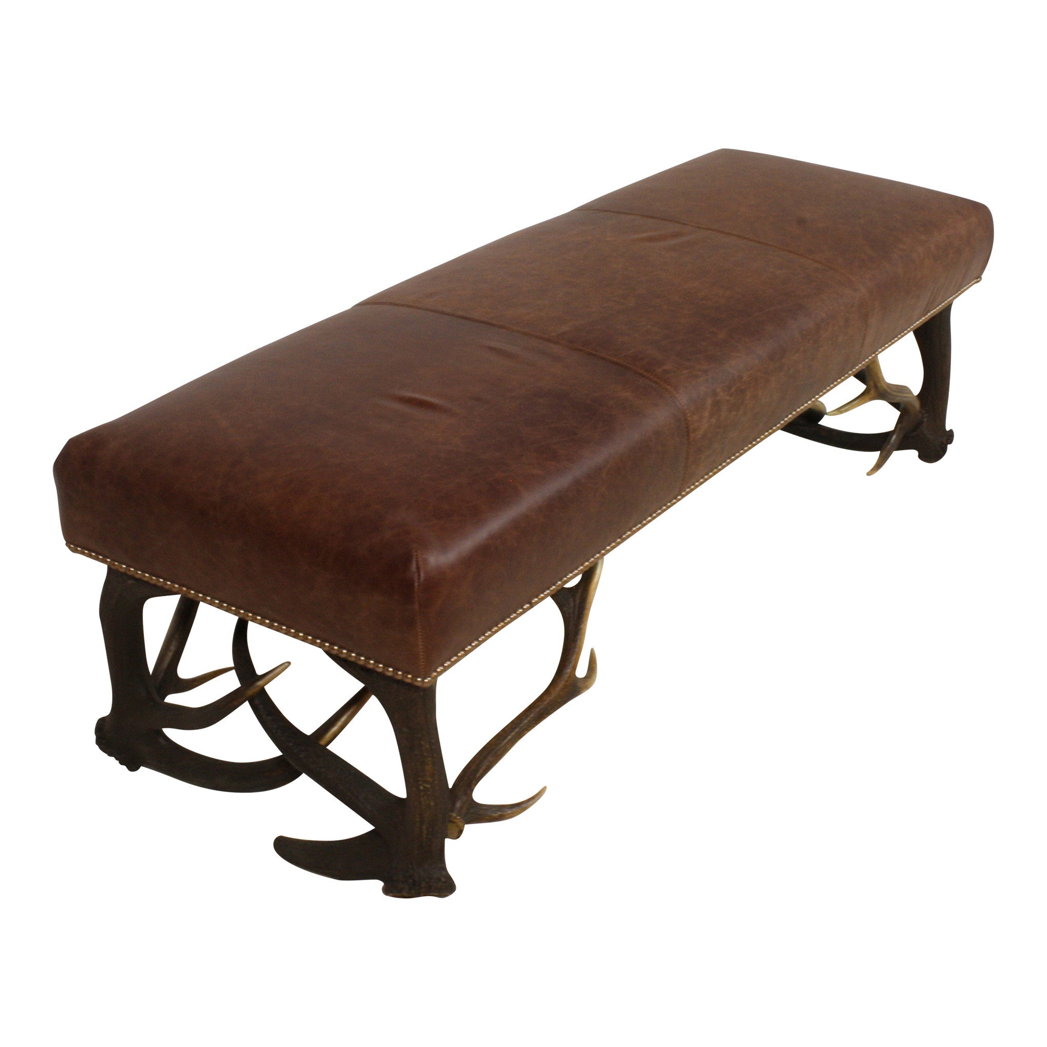 Leather Bench with Stag Antler Legs