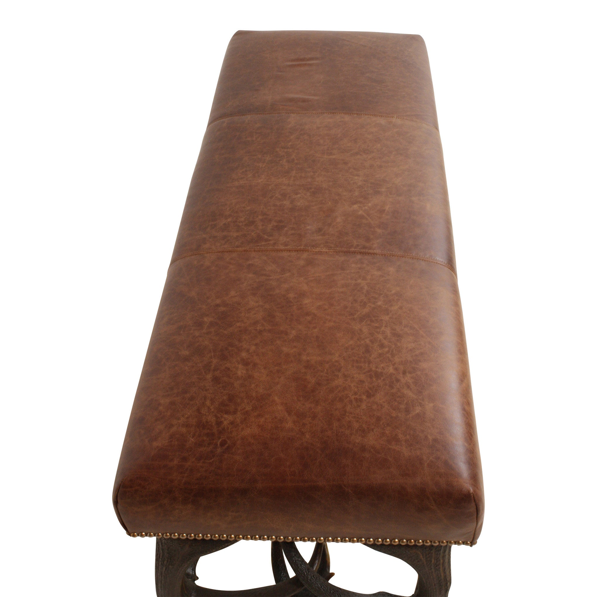 ski-country-antiques - Leather Bench with Stag Antler Legs