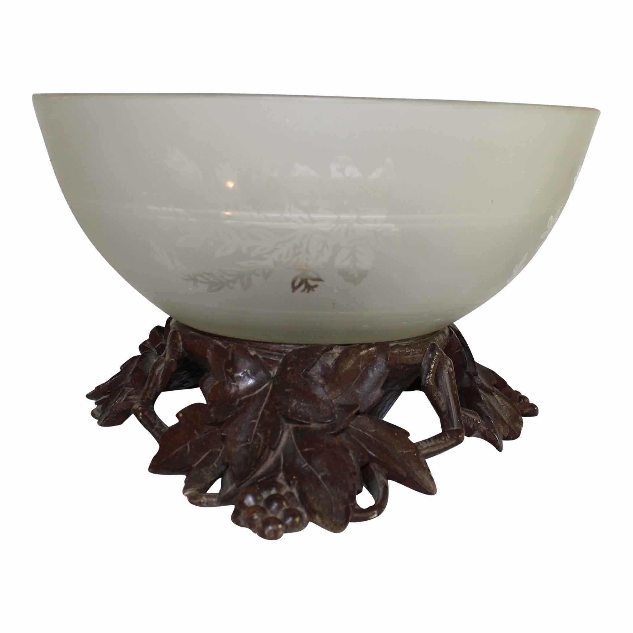 Glass Bowl with Carved Stand