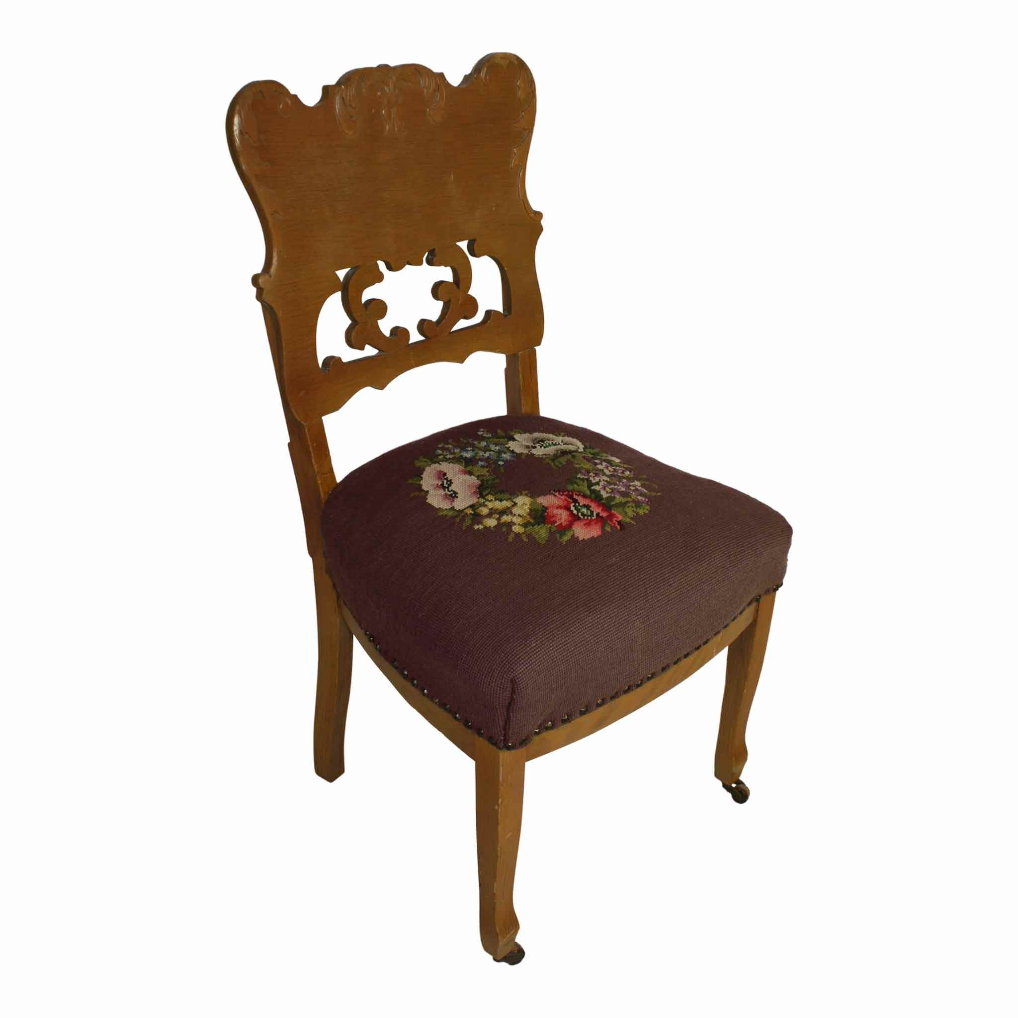 Nice Victorian Chair With Needlepoint Seat
