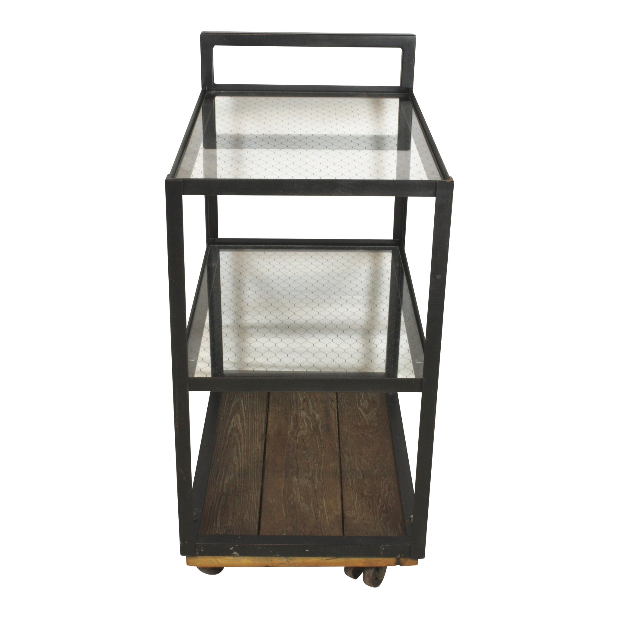 Metal Serving Cart with Chicken Wire Glass