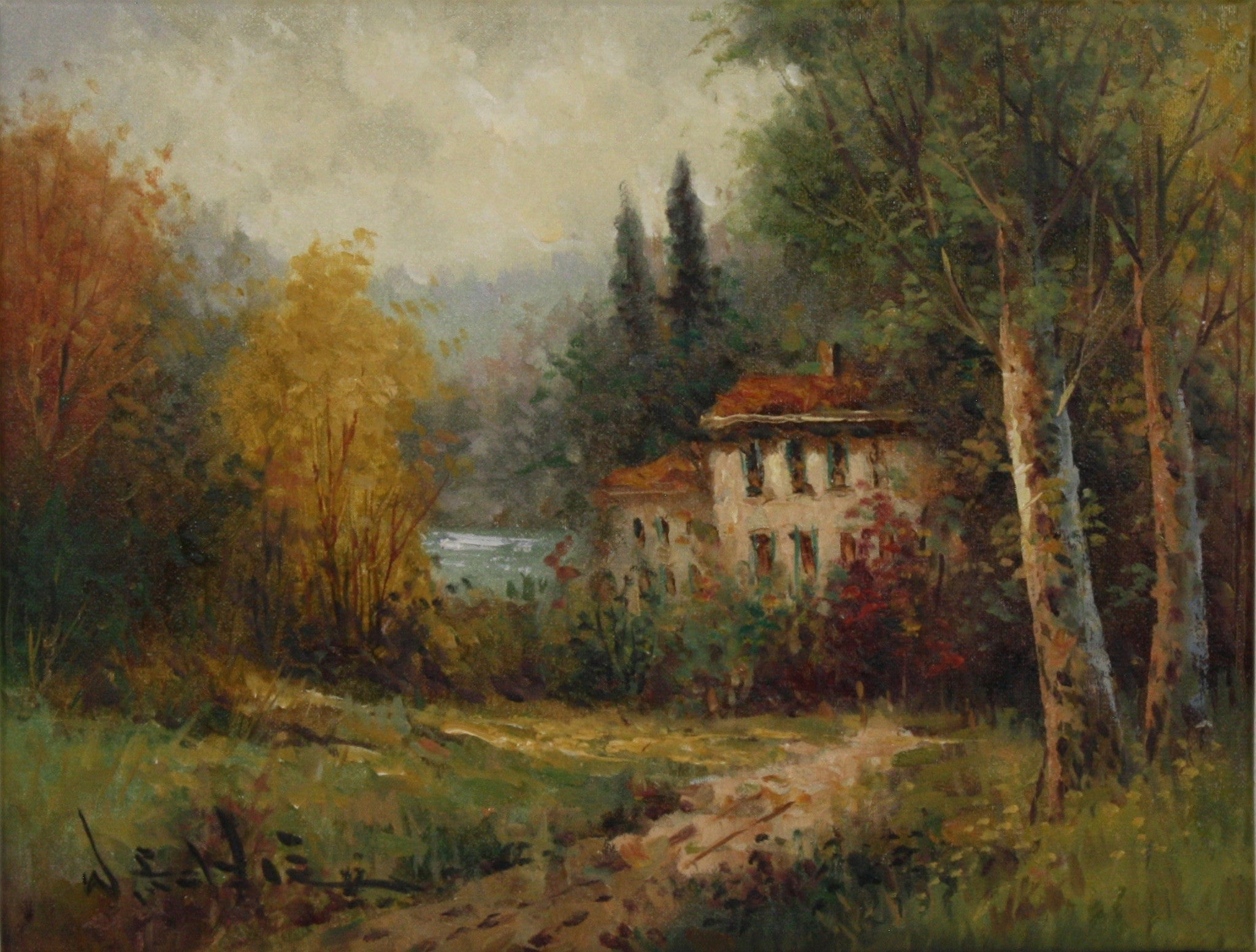 "ski-country-antiques - W. Eddie Lake House Landscape 12"" x 16"""