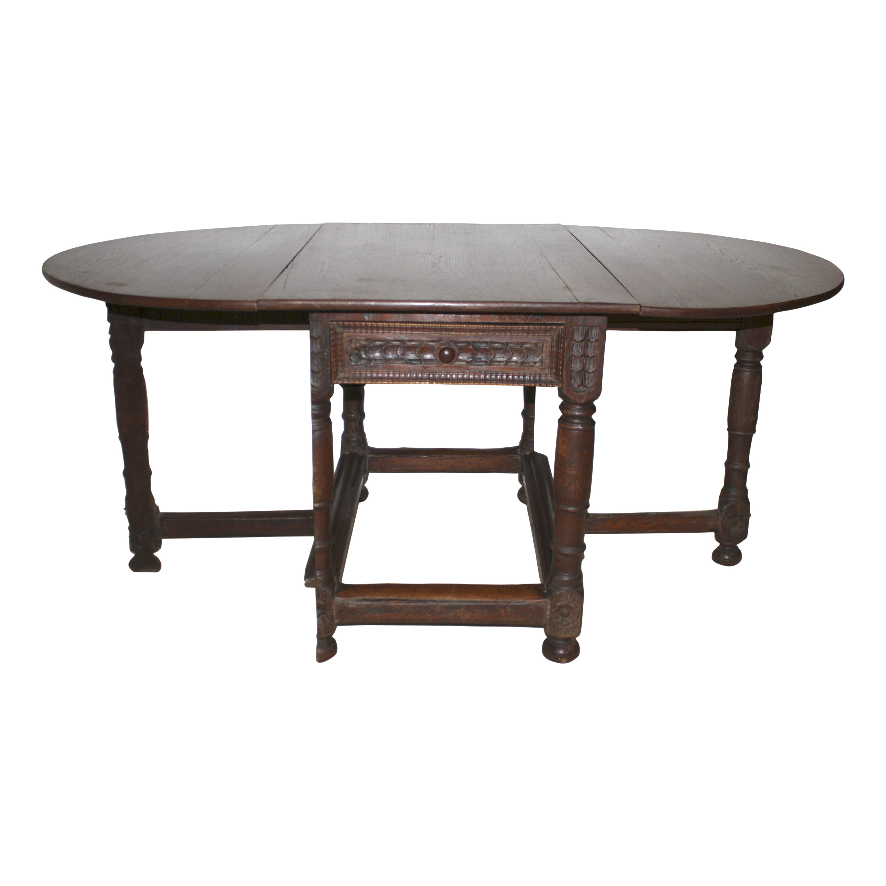 Oak Oval Drop Leaf Table with Drawer