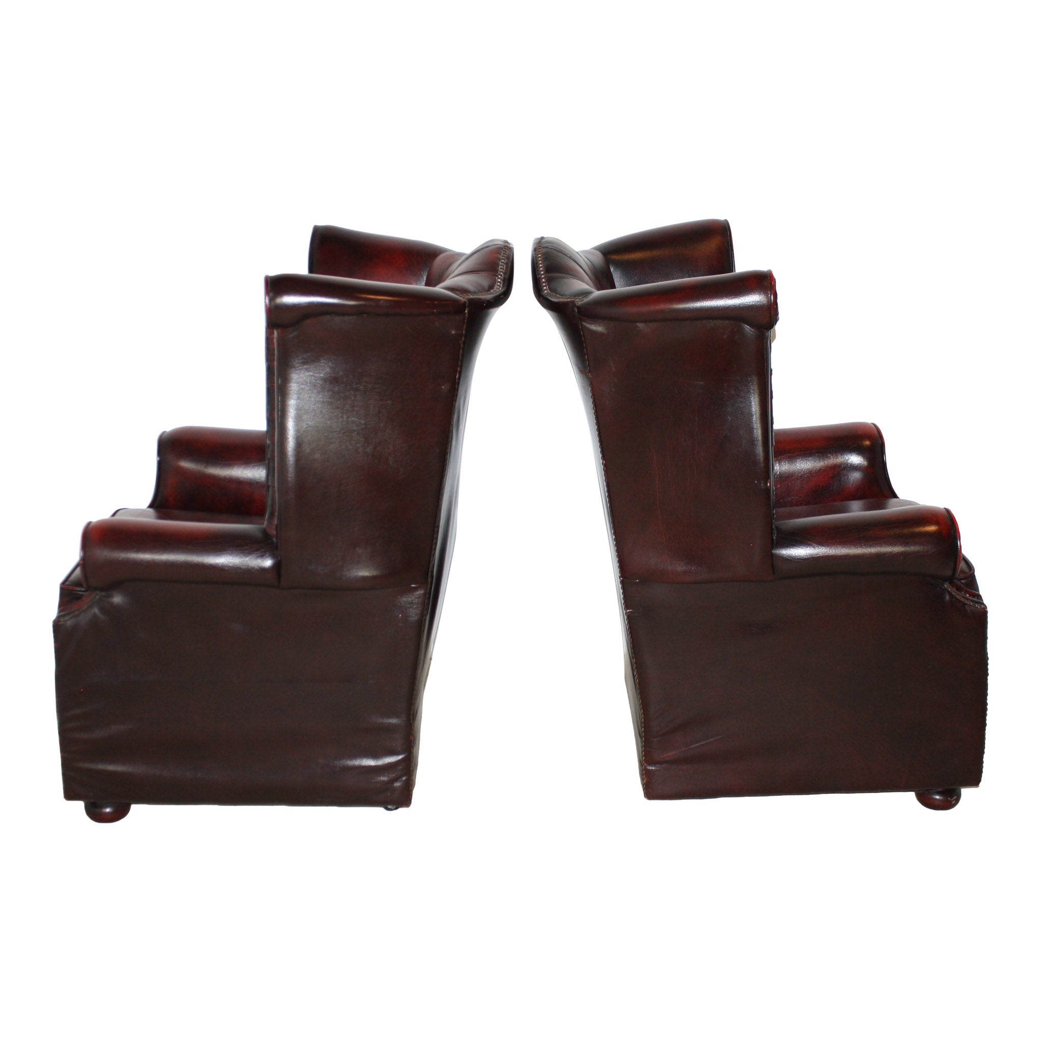 ... Oxblood Chesterfield English Wingback Leather Chairs/Set Of Two ...