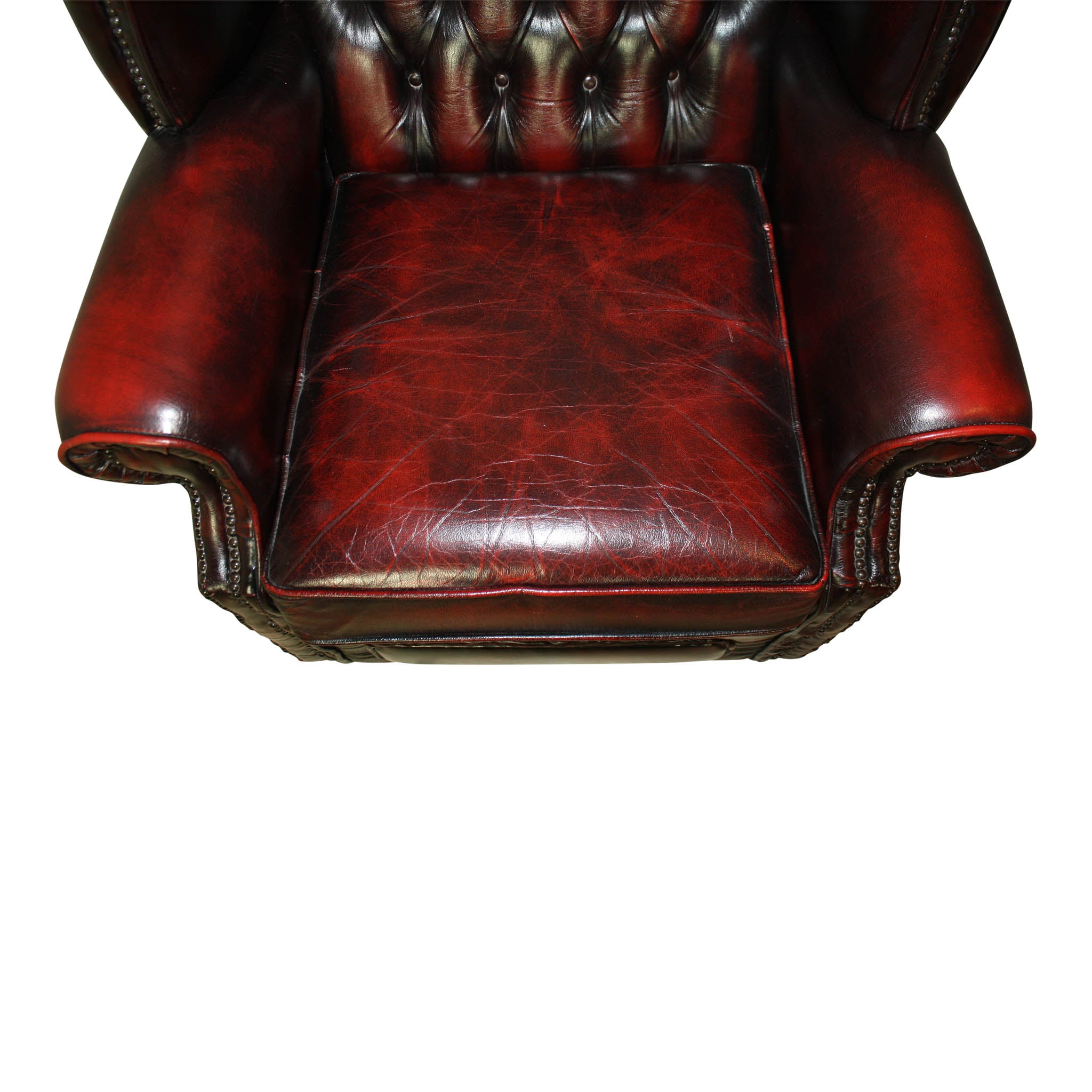 Oxblood Chesterfield English Wingback Leather Chairs/Set of Two