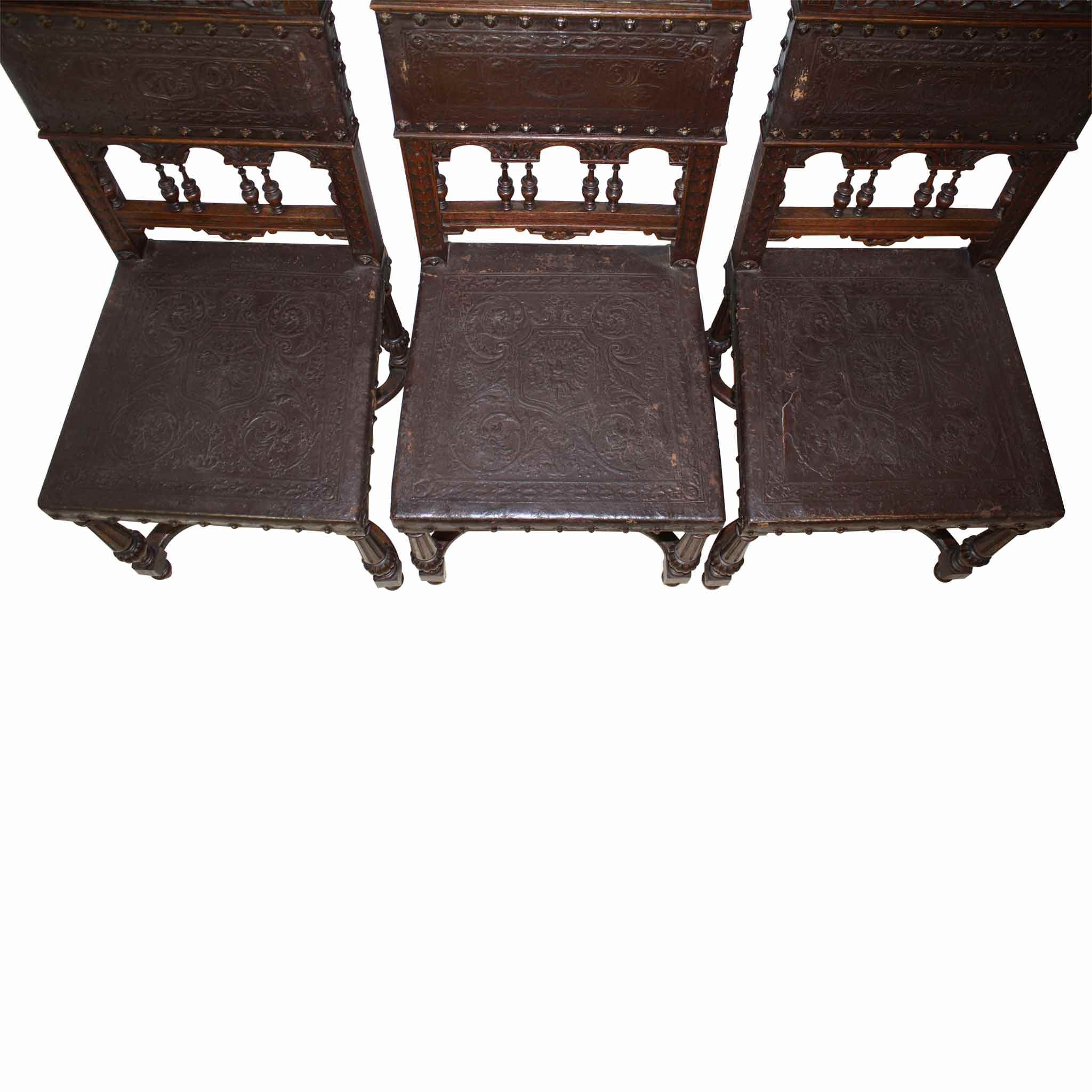 Leather Chairs Set/6