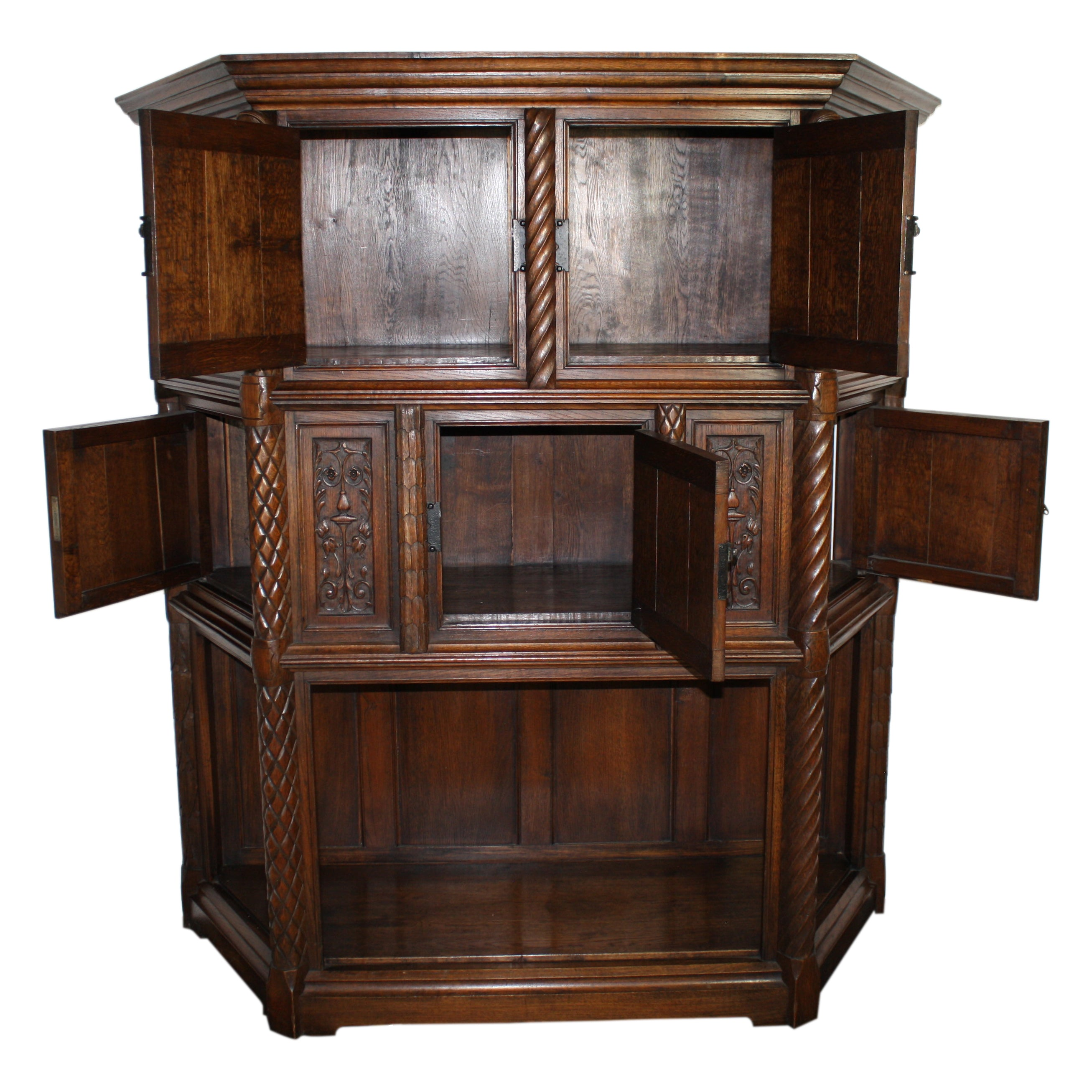 Belgian Carved Oak Cabinet