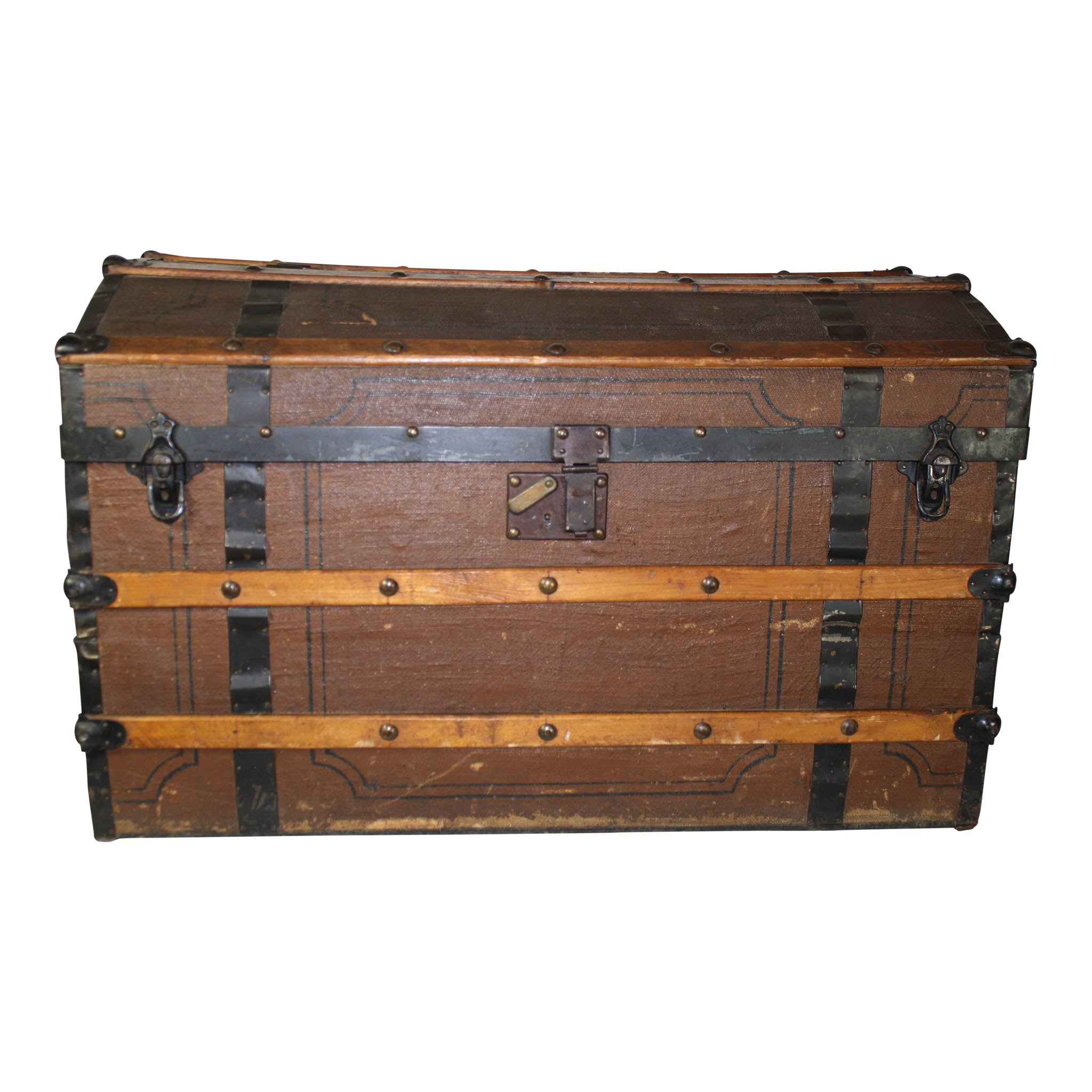 Canvas Covered Barrel Top Trunk