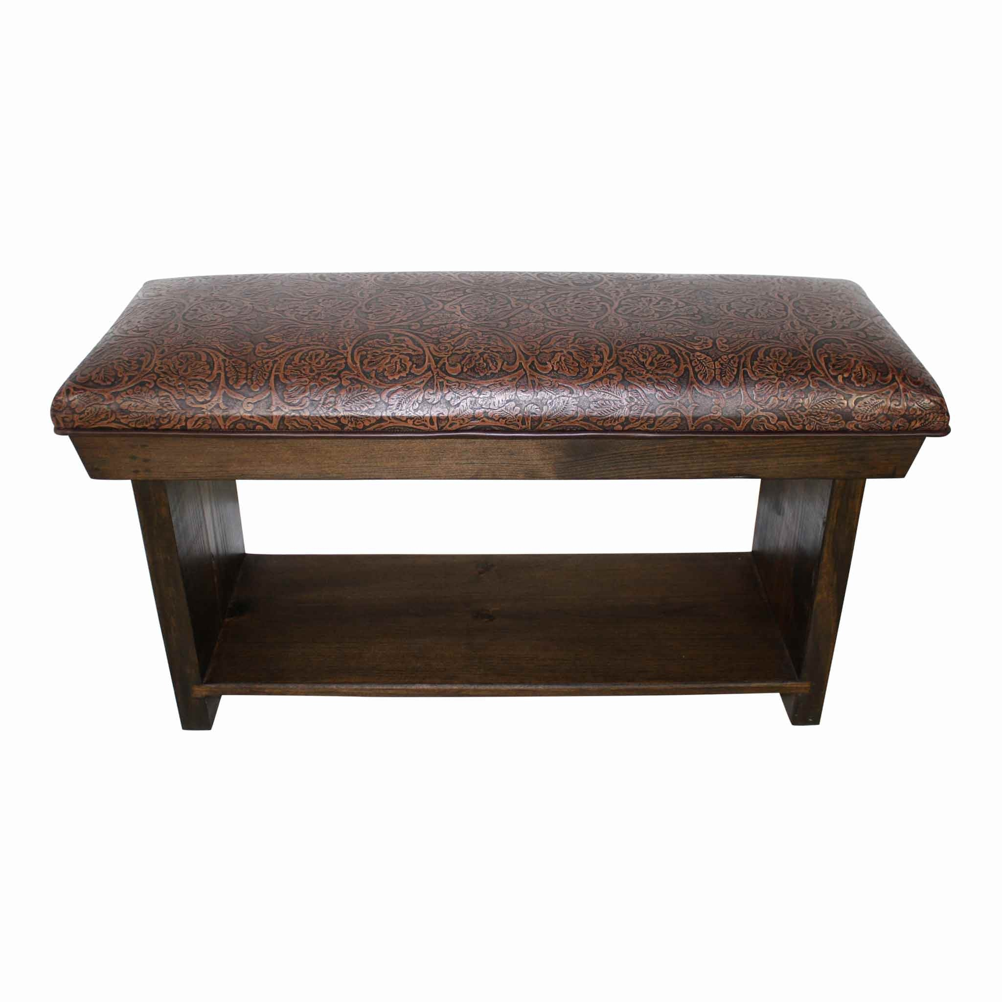 Cowboy Chocolate Pressed Leather Bench with Shelf