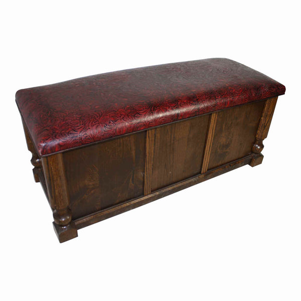 Oak and Alder Trunk with Burgandy Floral Pressed Leather
