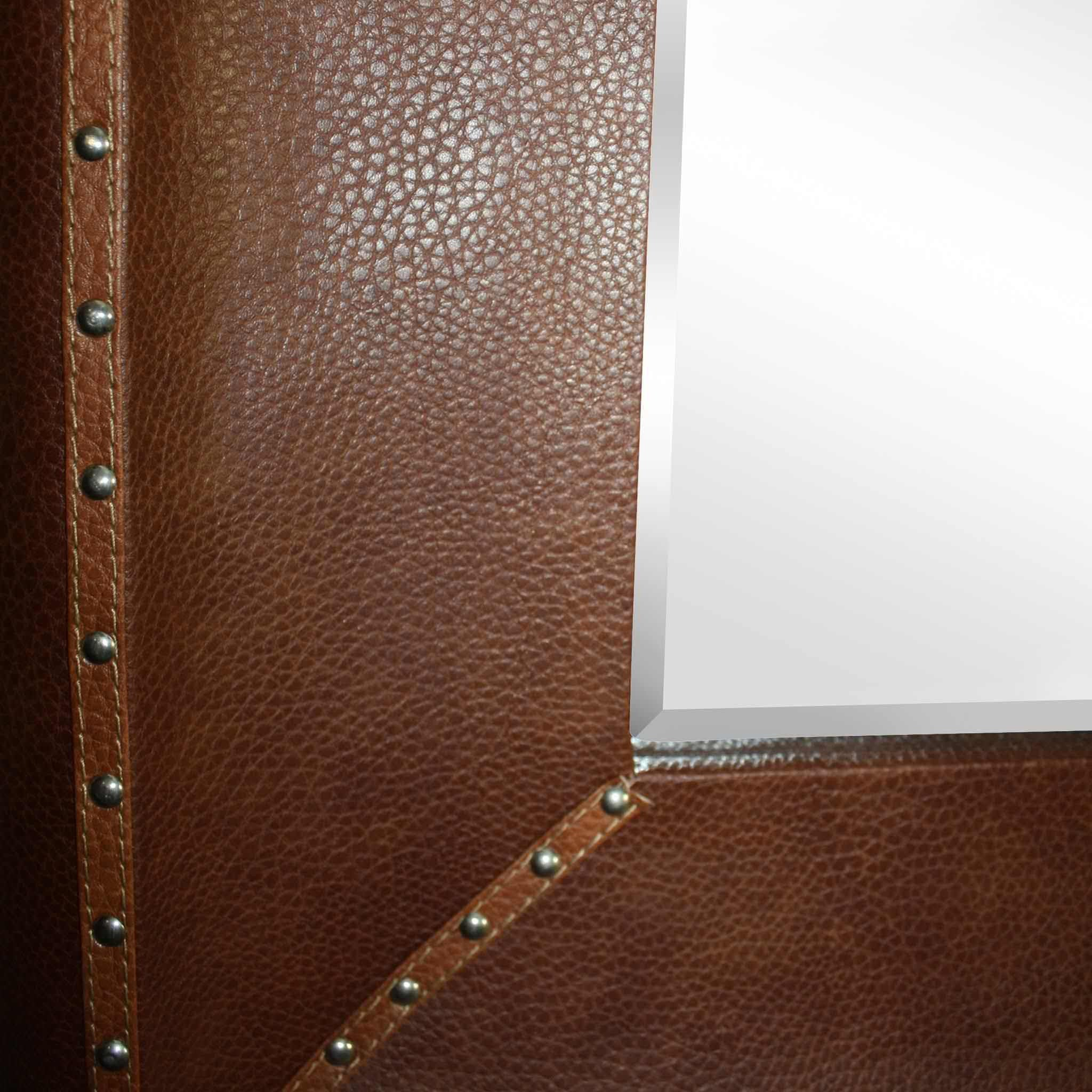 Mirror with Studded Leather Frame