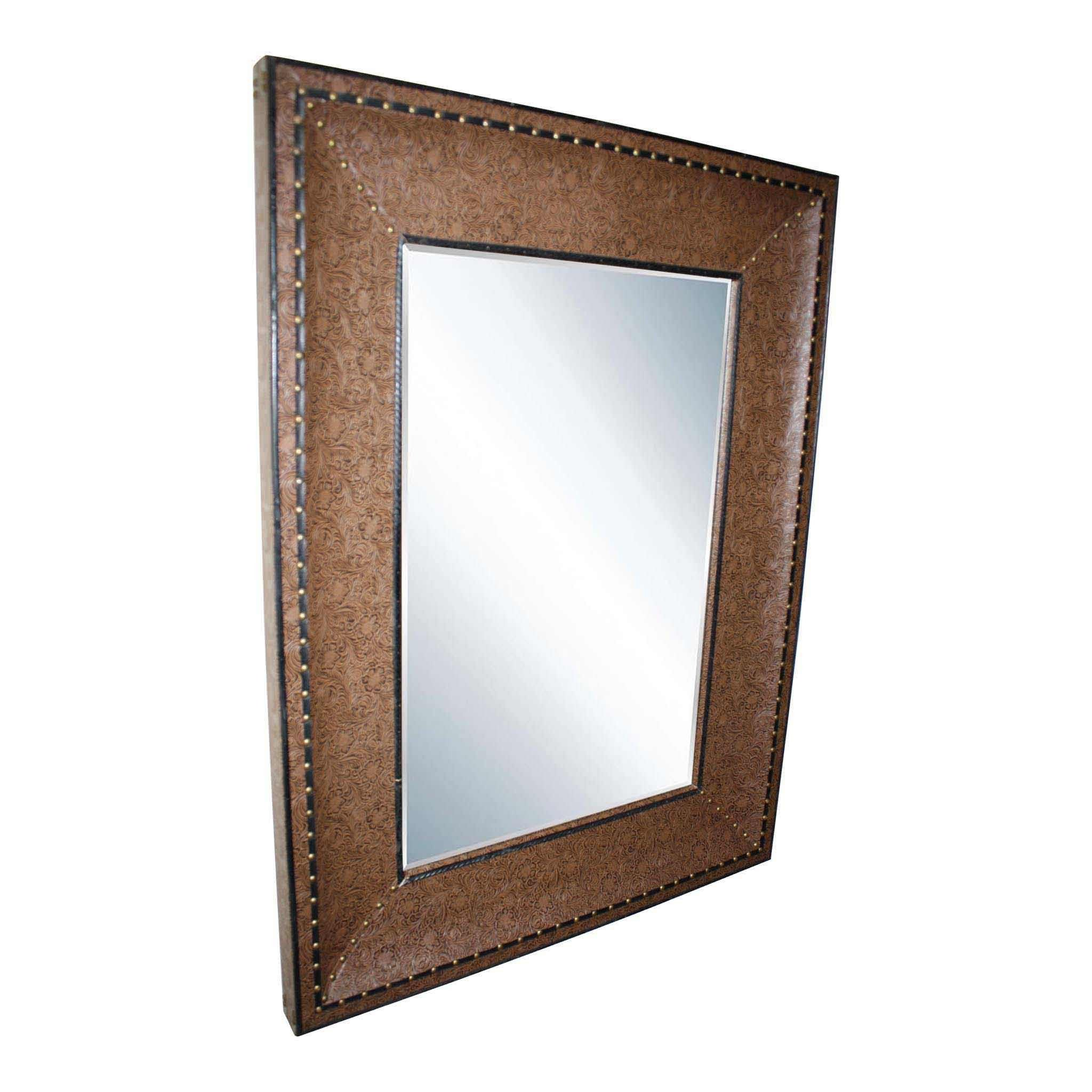 Mirror with Embossed Brown Leather Frame