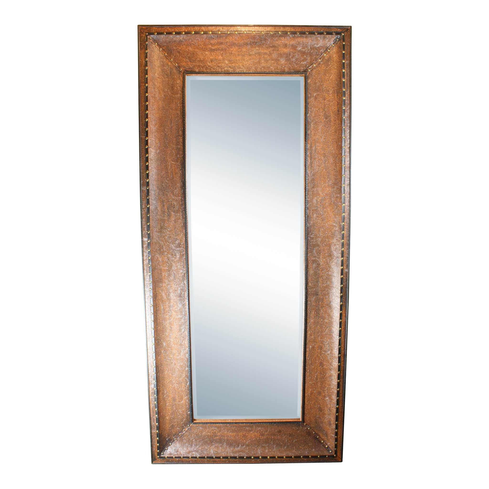 Mirror with Embossed Brown Leather Frame - Ski Country Antiques & Home