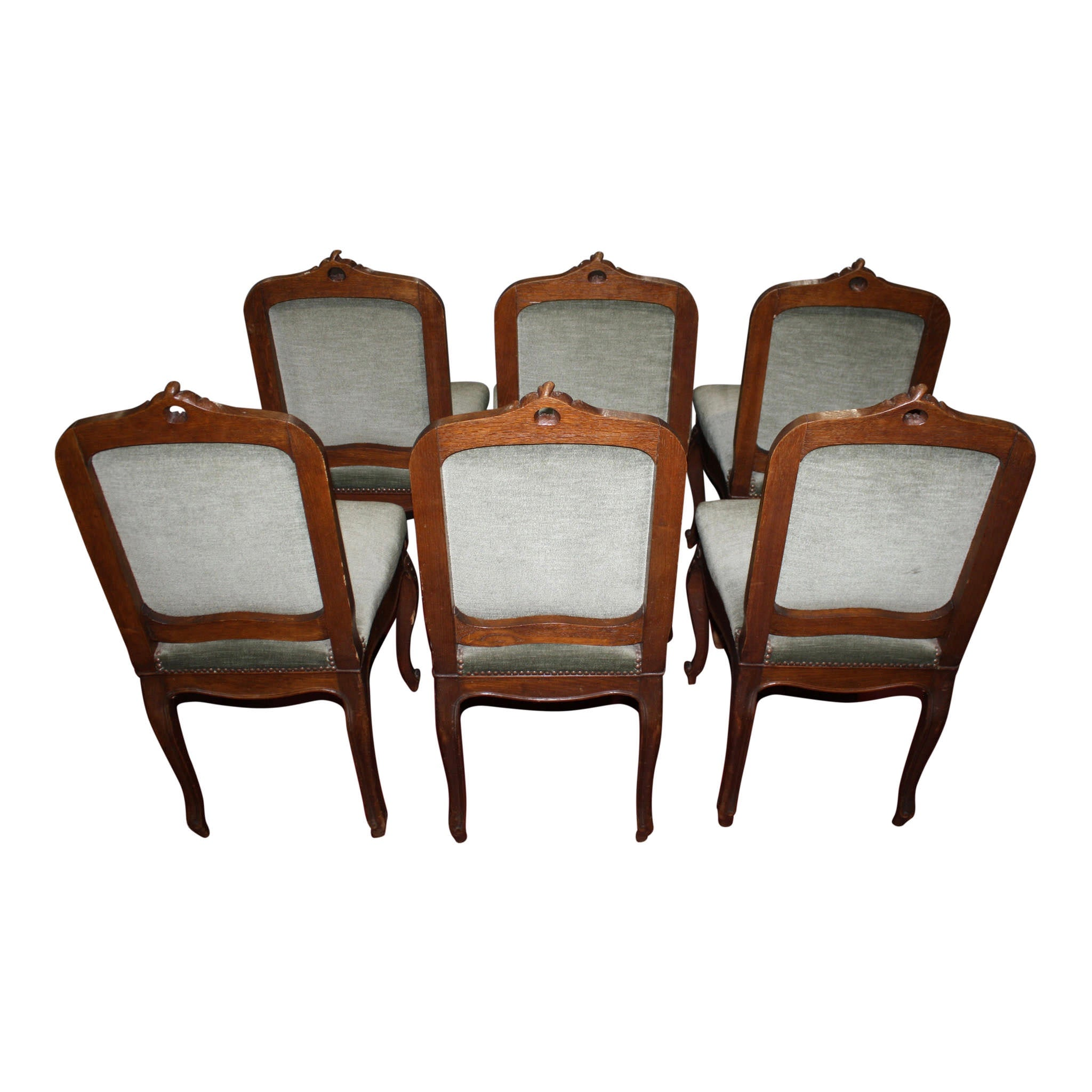 Louis XV Oak Dining Set, Seven Pieces