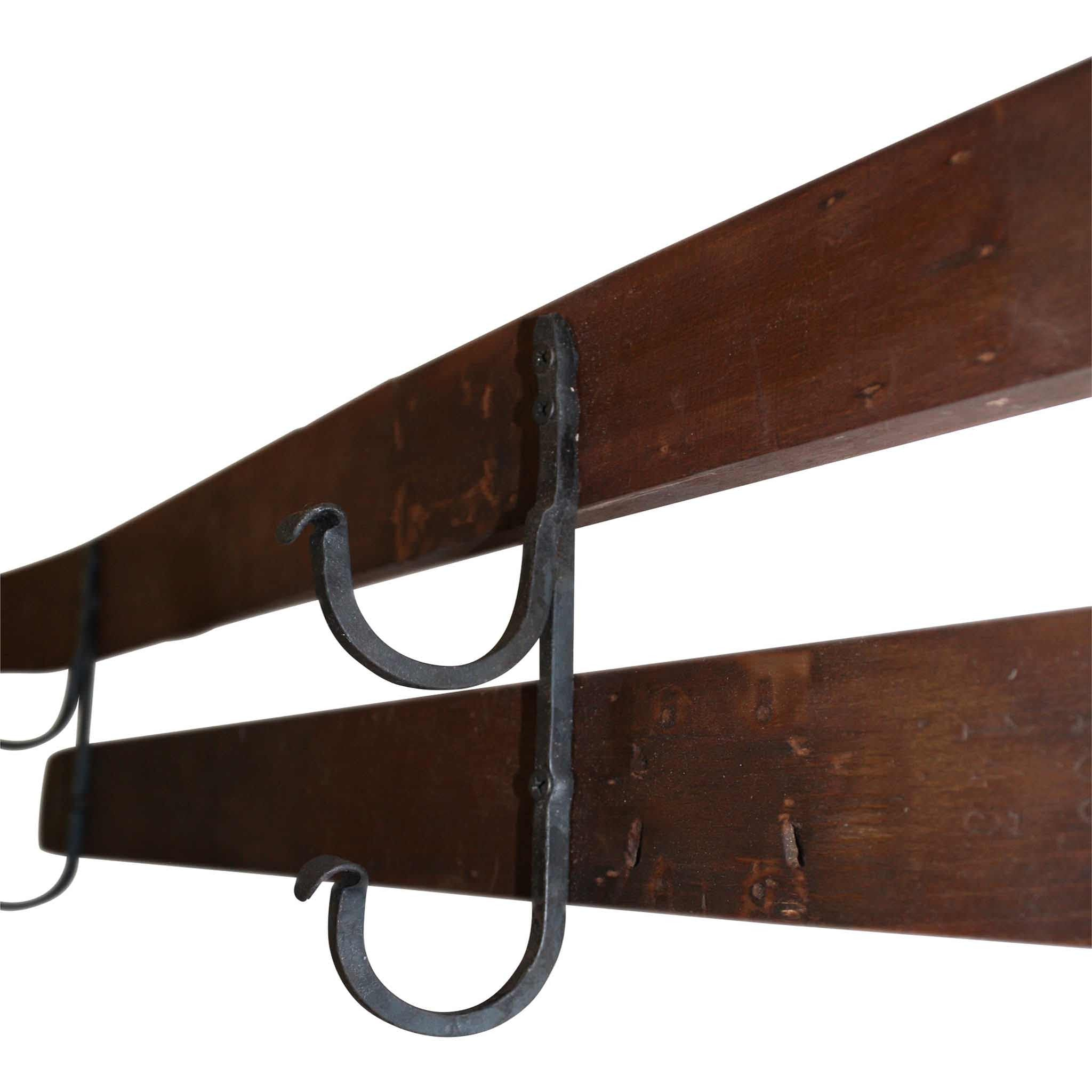Double Ski Wall Hook with Hand Forged Hooks